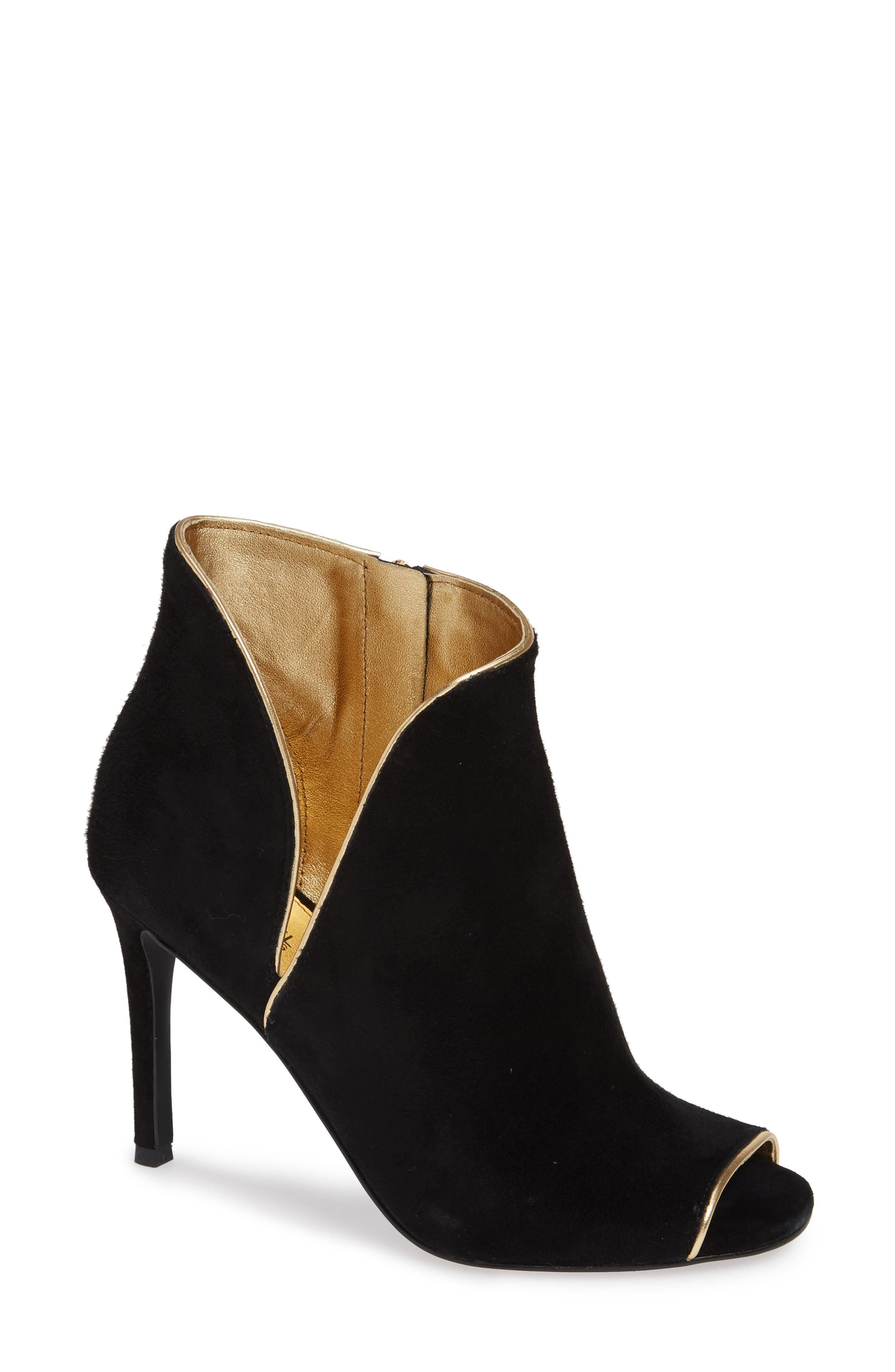 Harper Open Toe Bootie in Black Suede