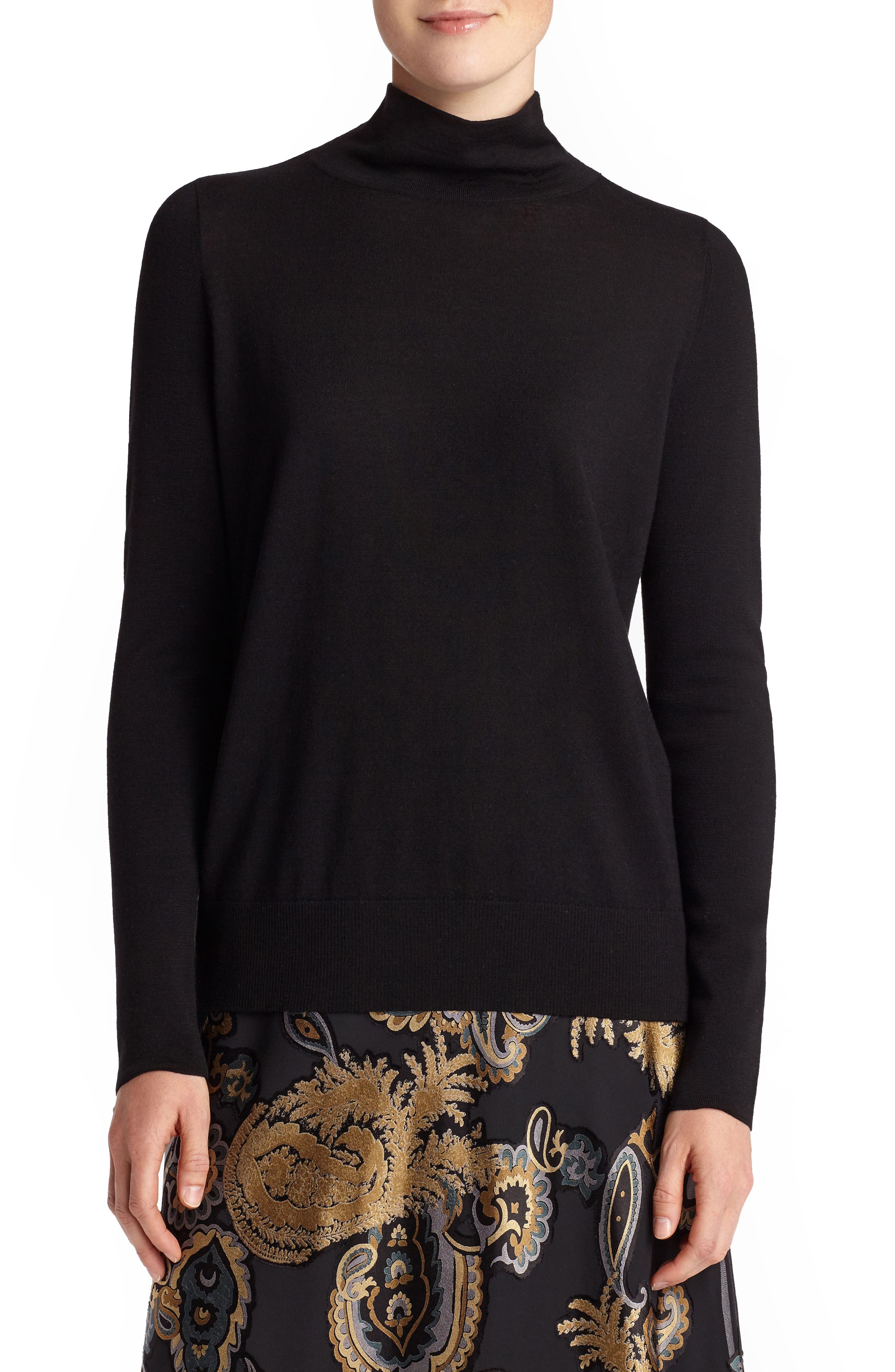 Lafayette 148 New York Merino Wool Modern Turtleneck Sweater, Black