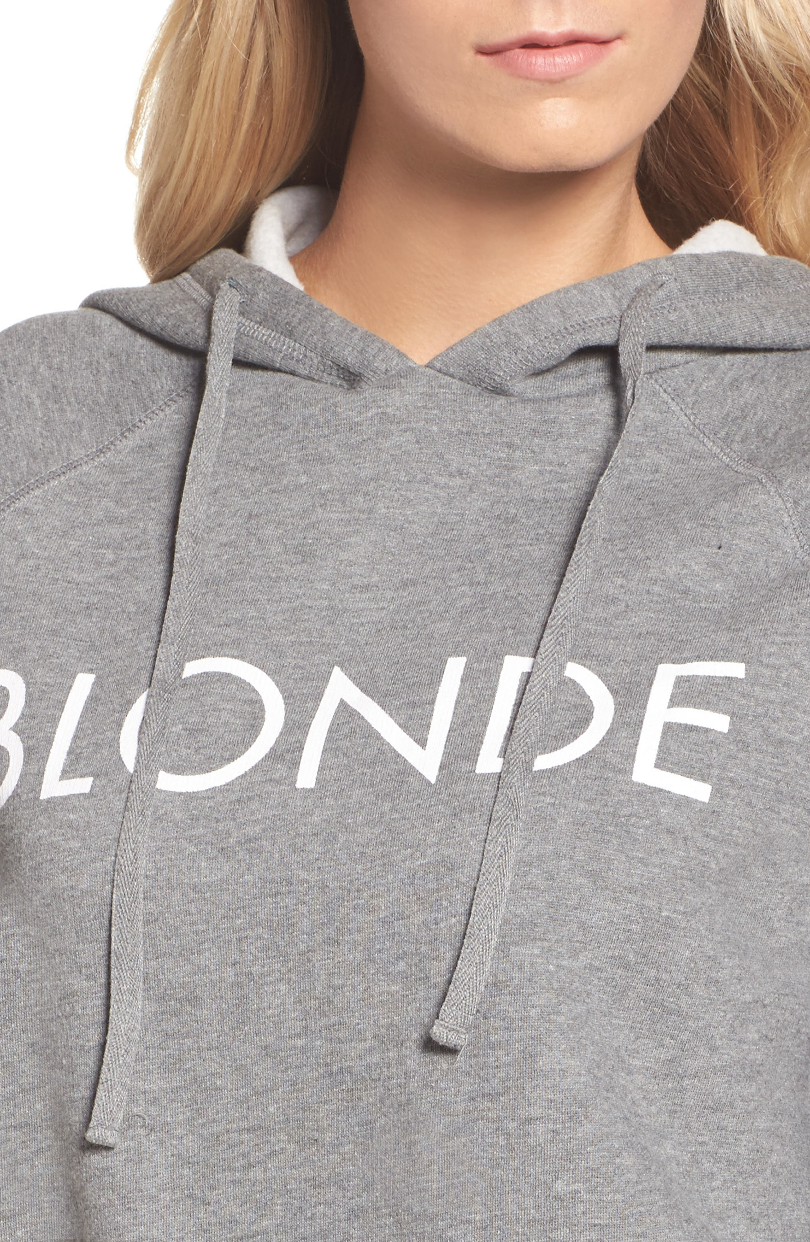 Blonde Raw Hem Hoodie,                             Alternate thumbnail 4, color,                             HEATHER GREY WHITE