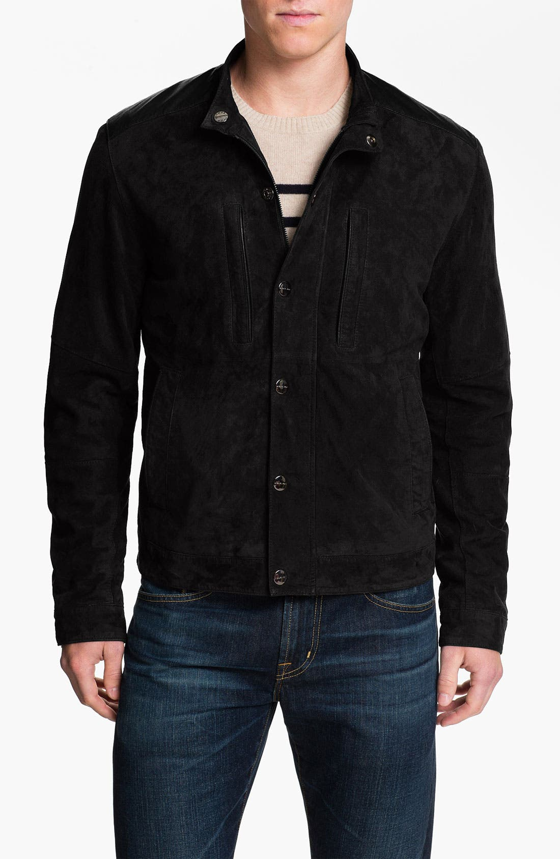 Suede Racer Jacket,                             Main thumbnail 1, color,                             001