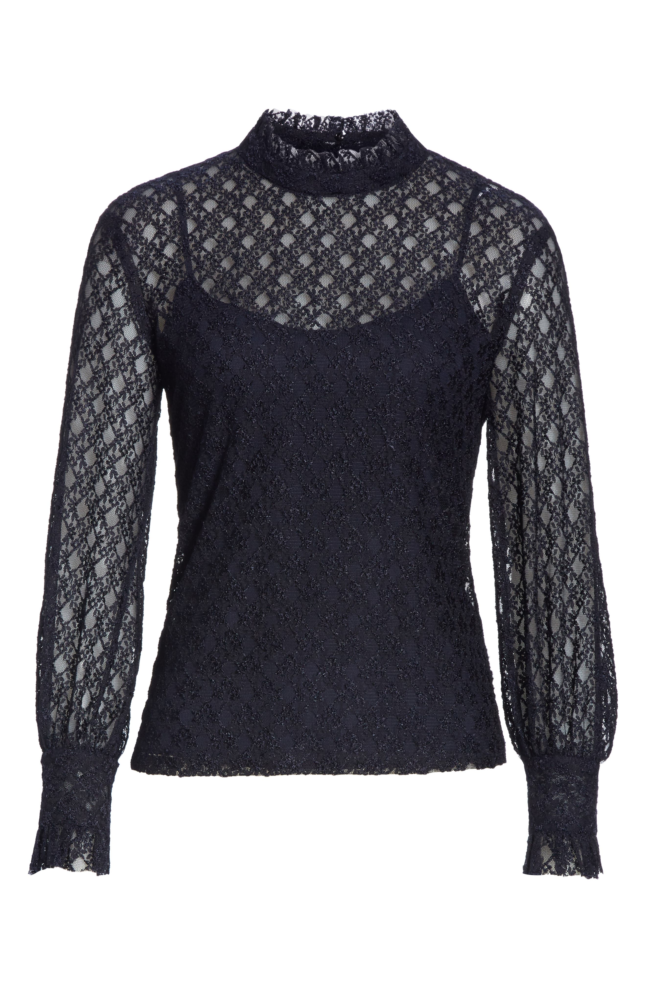 Cacahuete Lace Top,                             Alternate thumbnail 6, color,                             DEEP NAVY