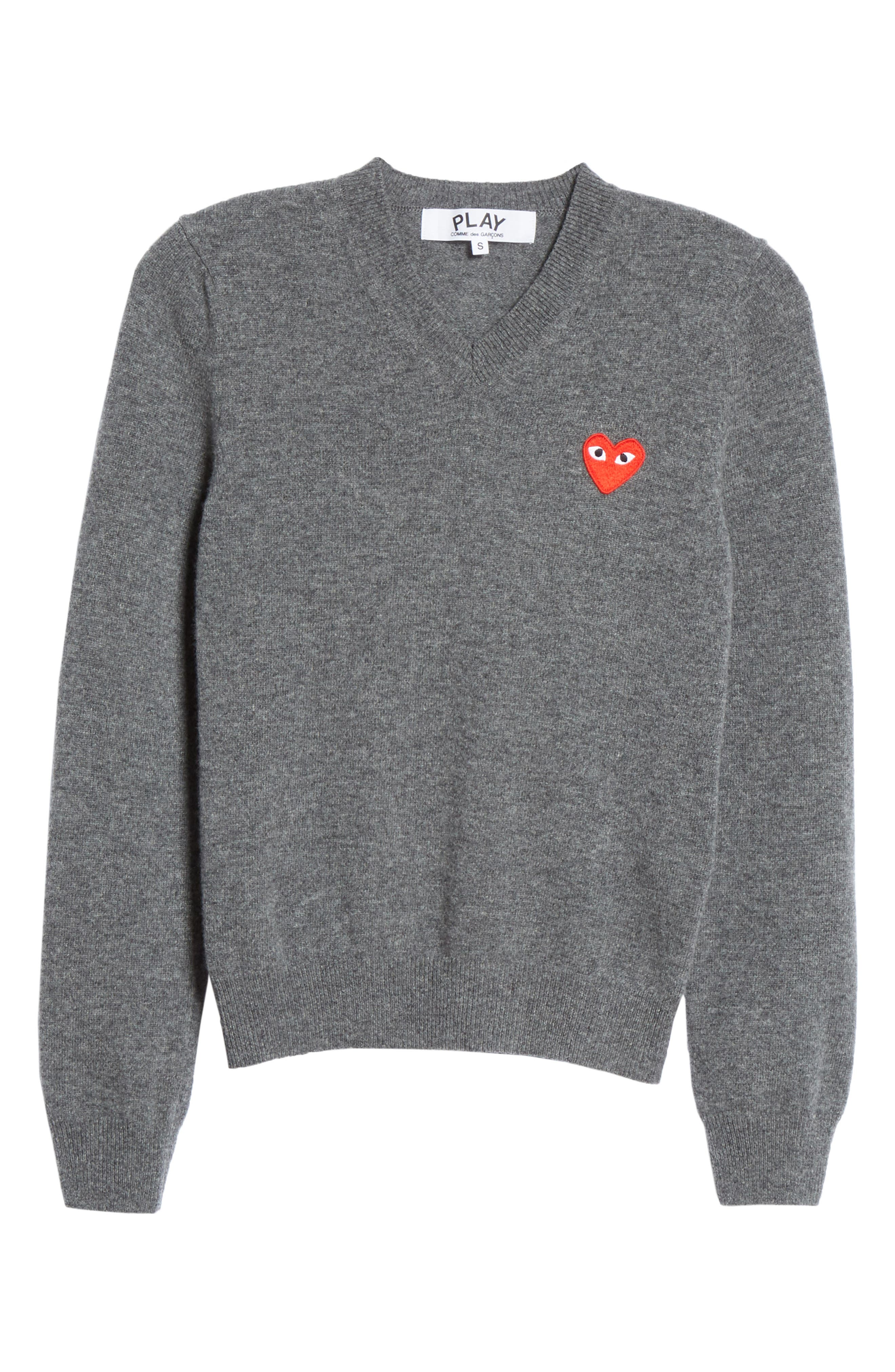 Heart Wool Pullover,                             Alternate thumbnail 6, color,                             GREY
