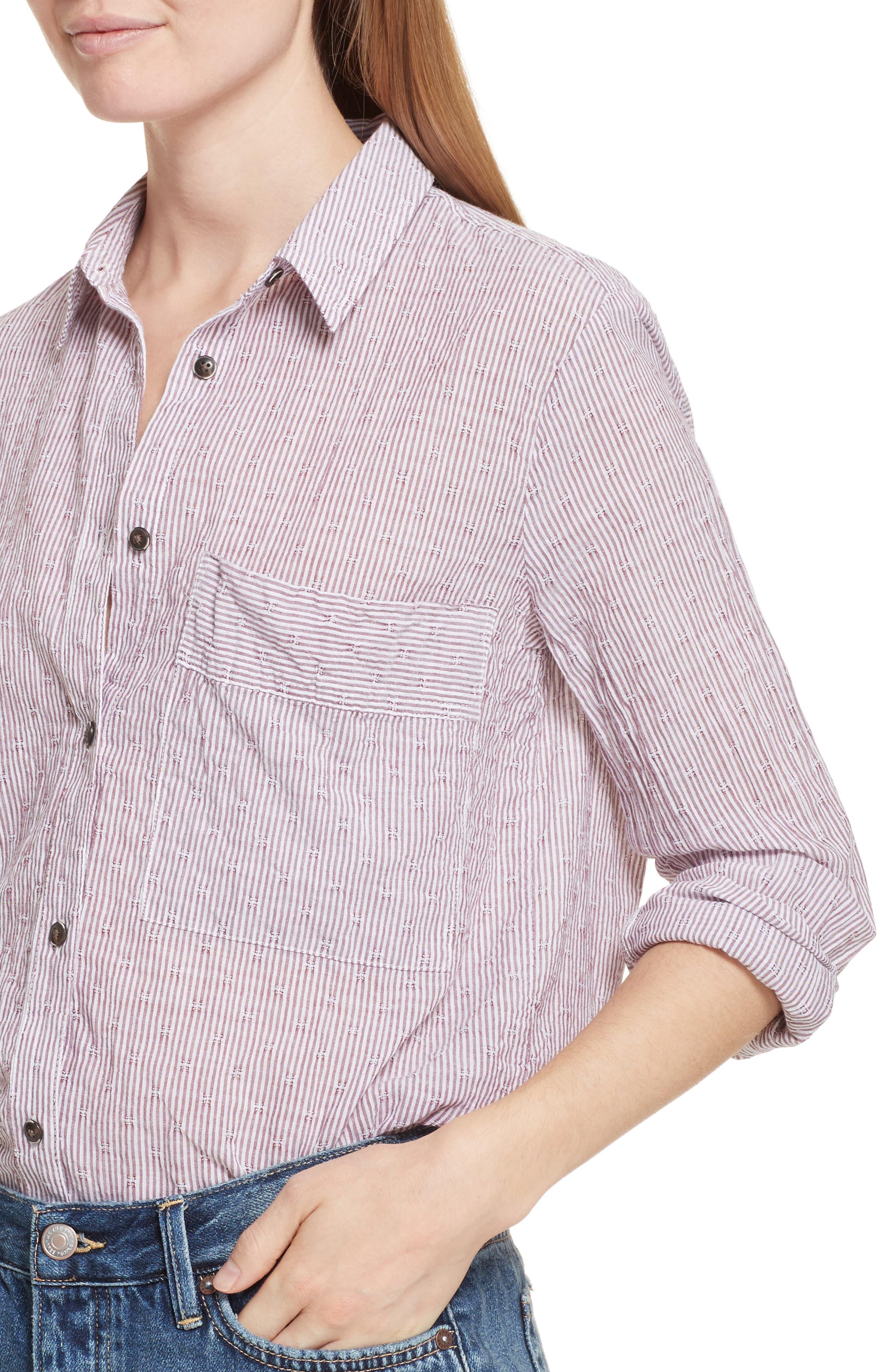 No Limits Stripe Stretch Cotton Shirt,                             Alternate thumbnail 8, color,