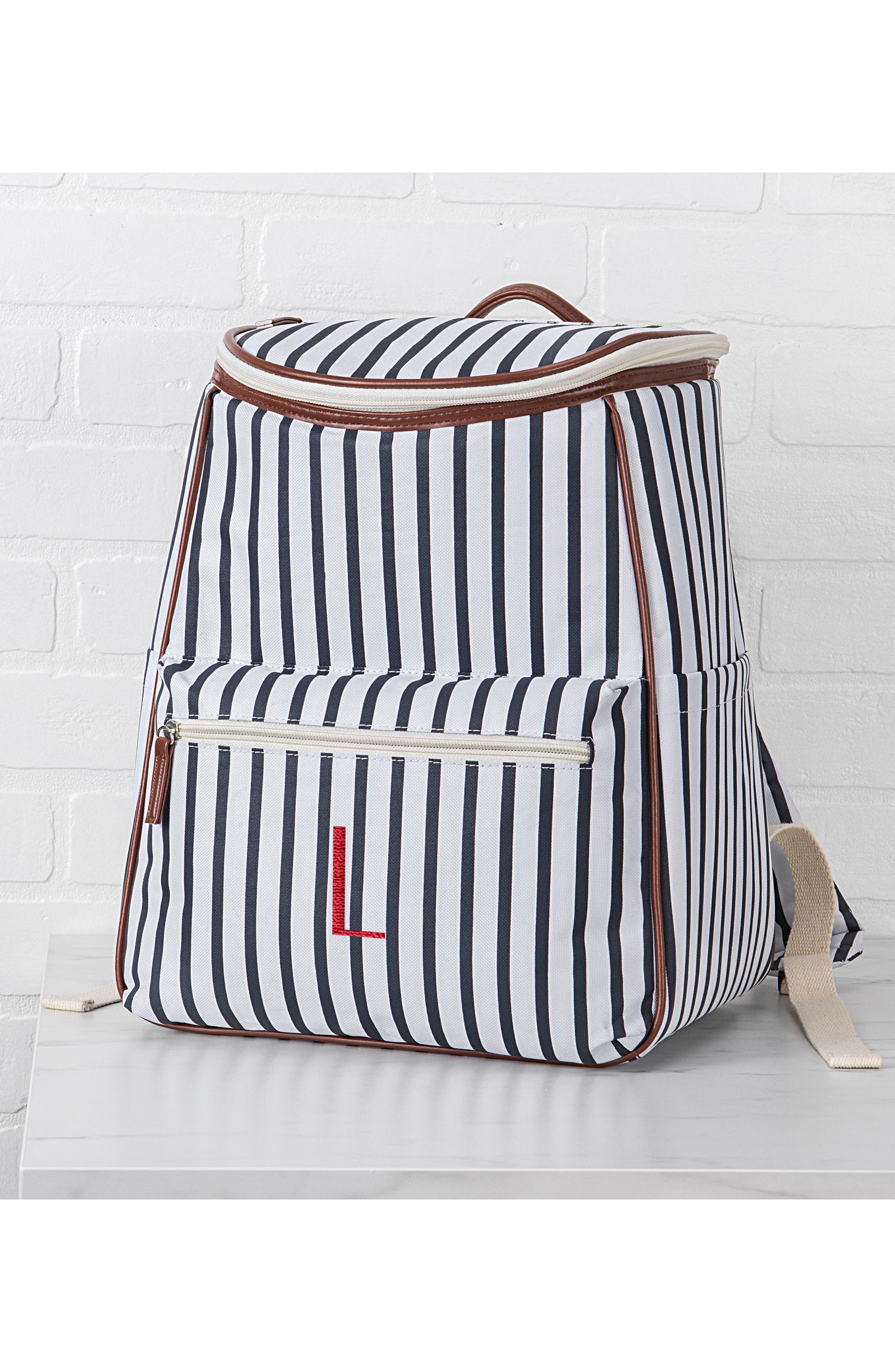 Monogram Stripe Backpack Cooler,                             Alternate thumbnail 5, color,                             BLUE