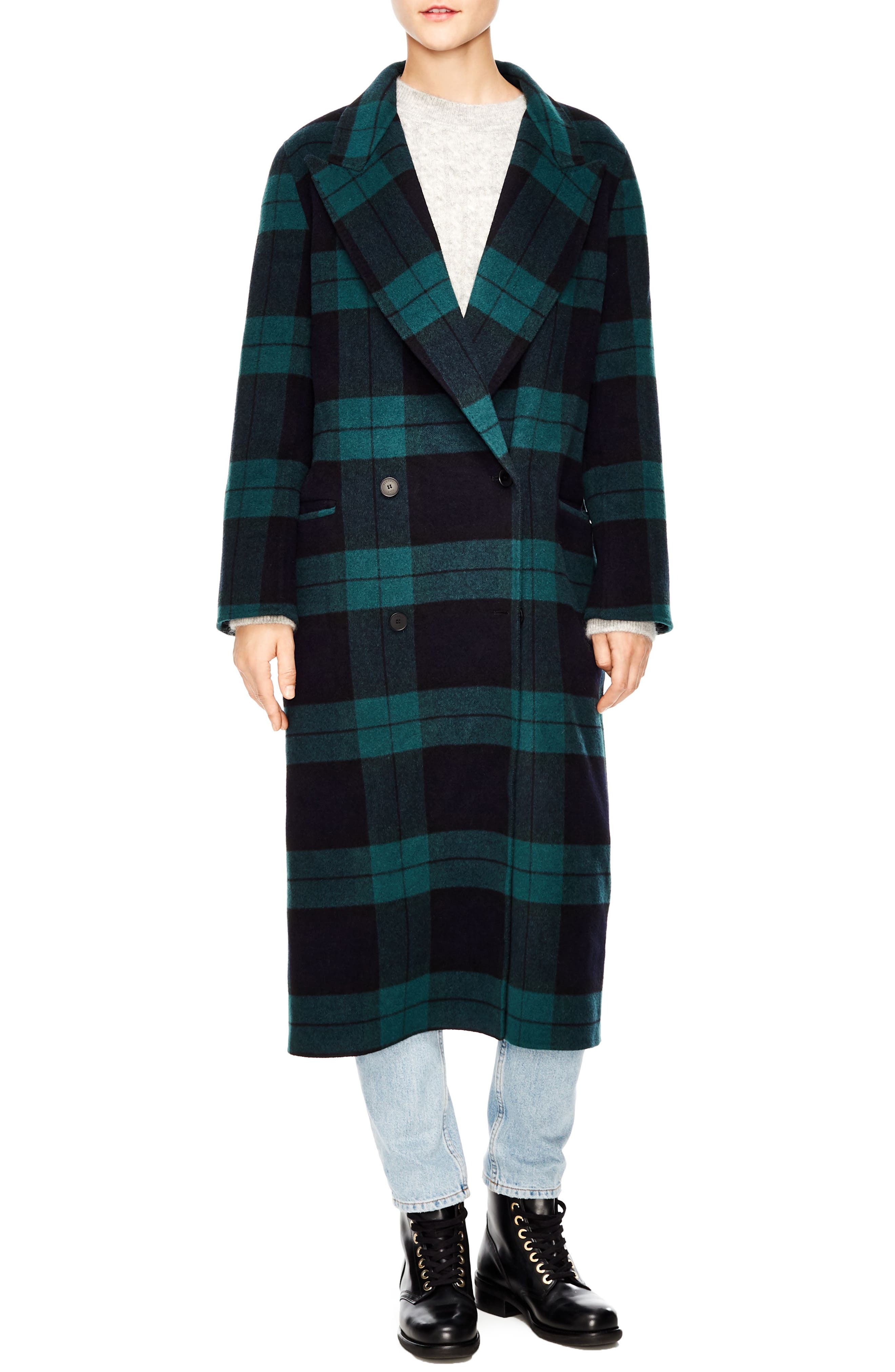 Pense Plaid Wool Blend Coat,                             Main thumbnail 1, color,                             GREEN