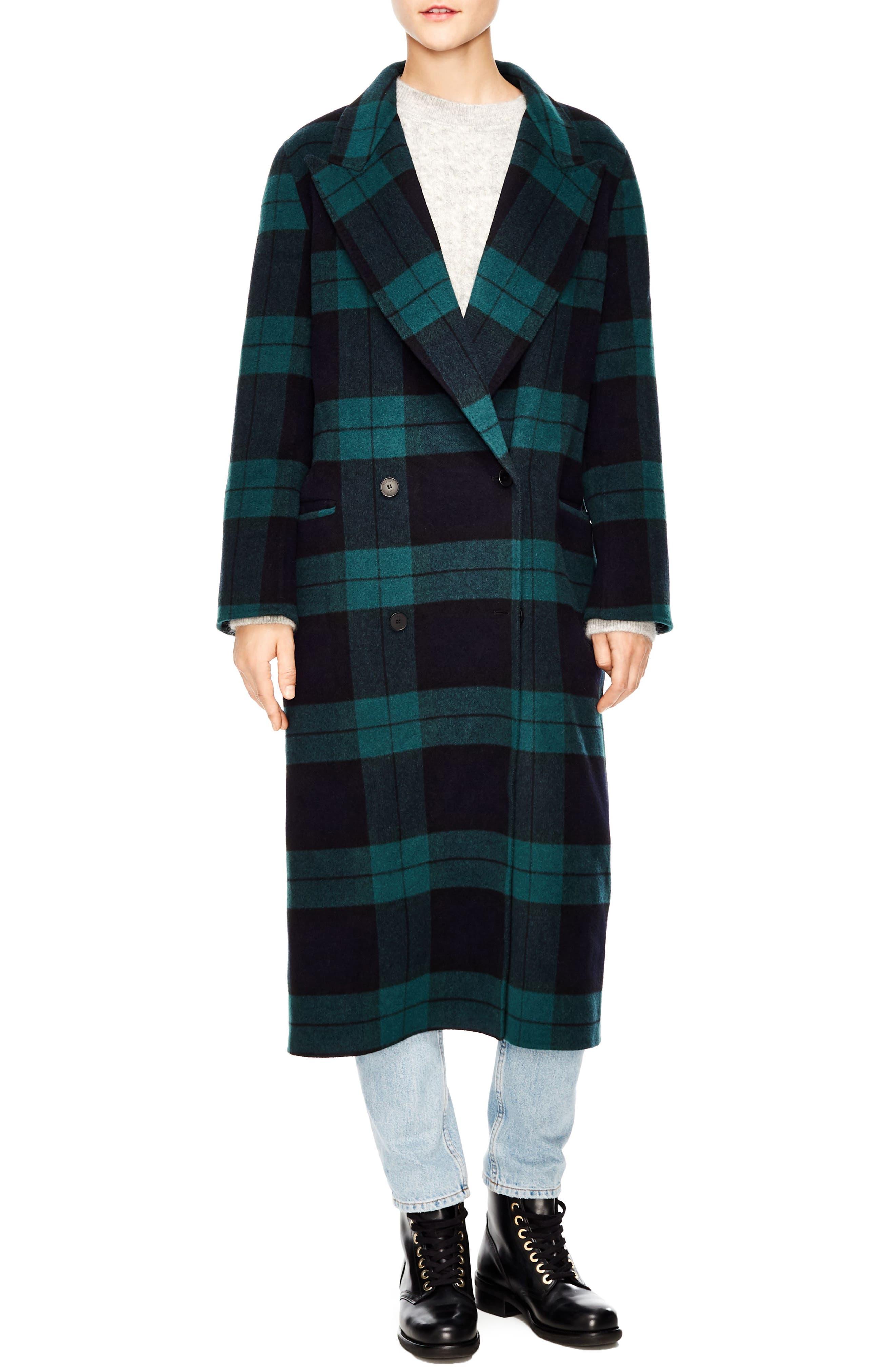 Pense Plaid Wool Blend Coat,                         Main,                         color, GREEN