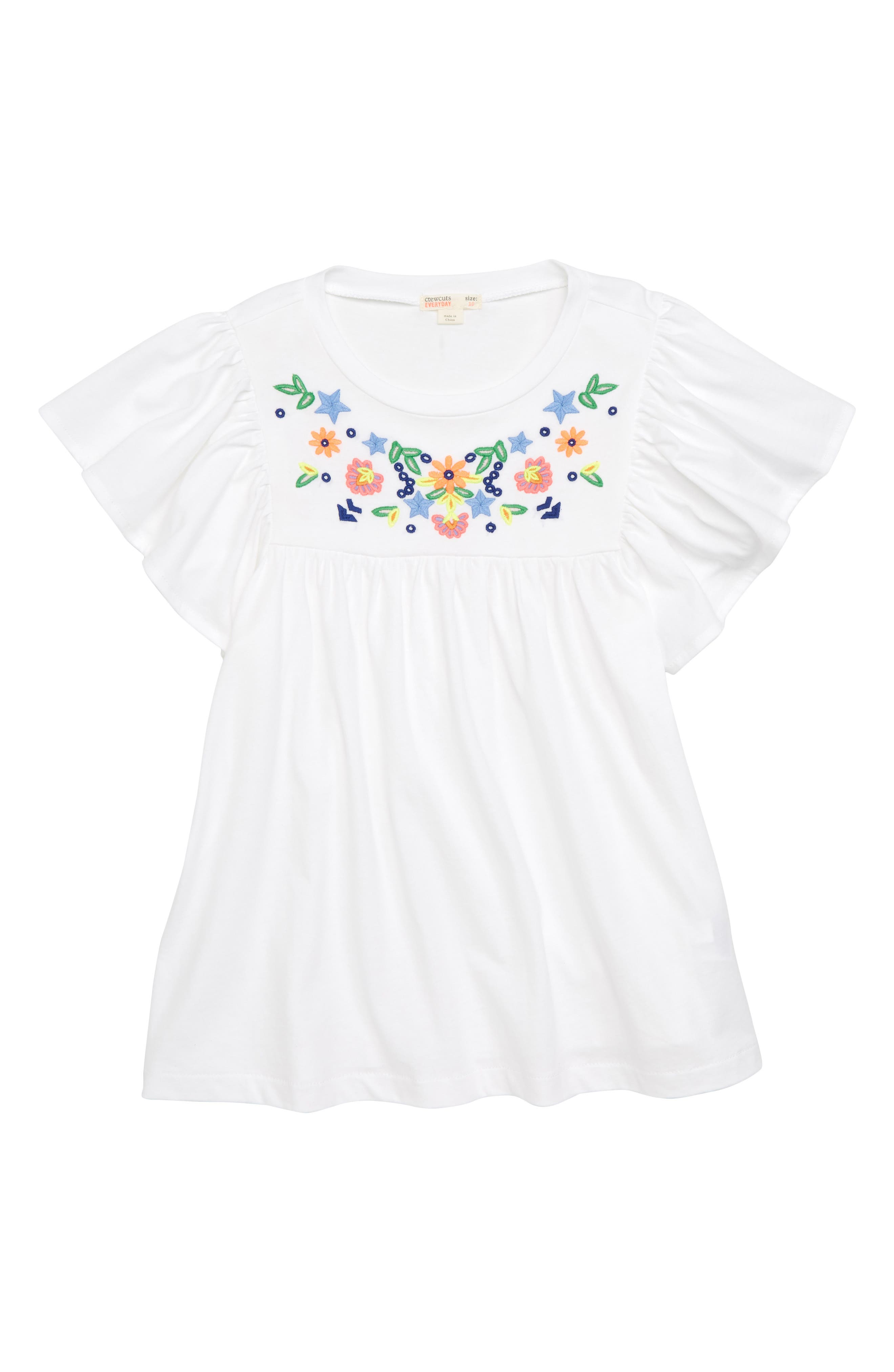 Embroidered Bell Sleeve Tee,                         Main,                         color,