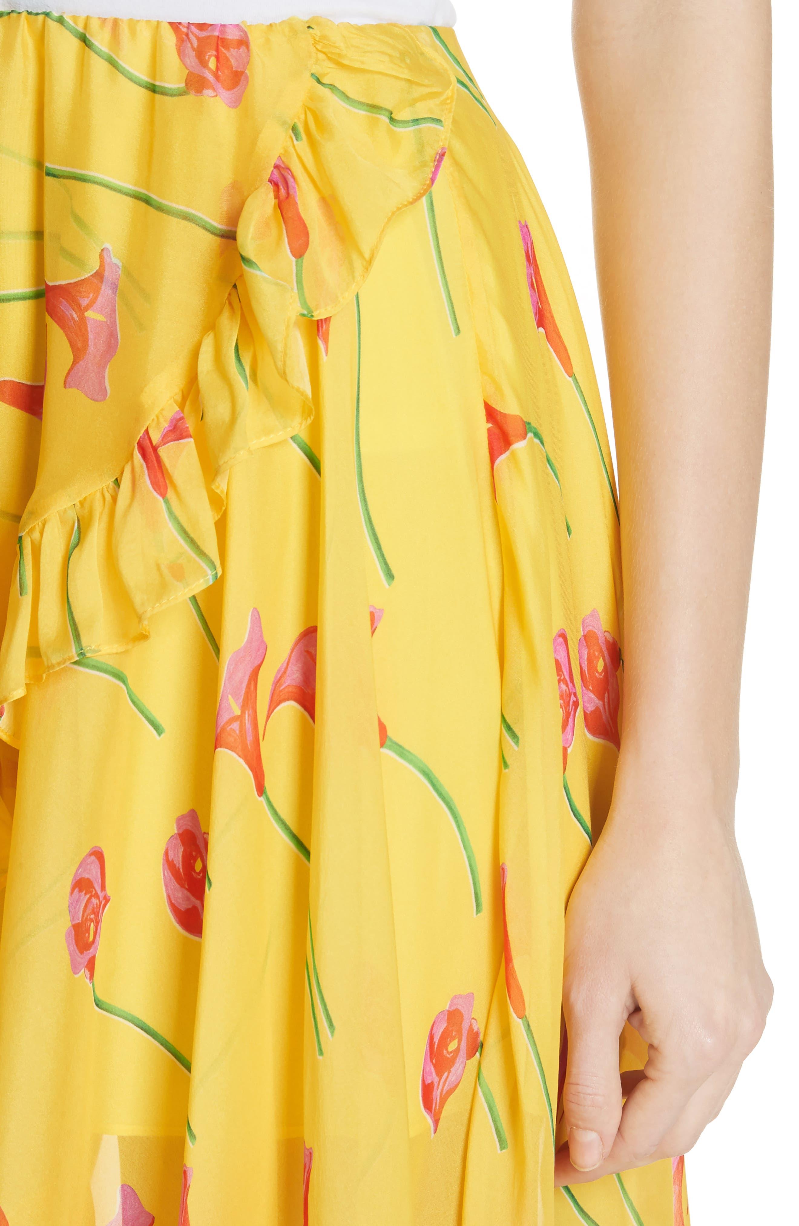 CAROLINE CONSTAS,                             Adelle Ruffle Trim High/Low Silk Skirt,                             Alternate thumbnail 4, color,                             720