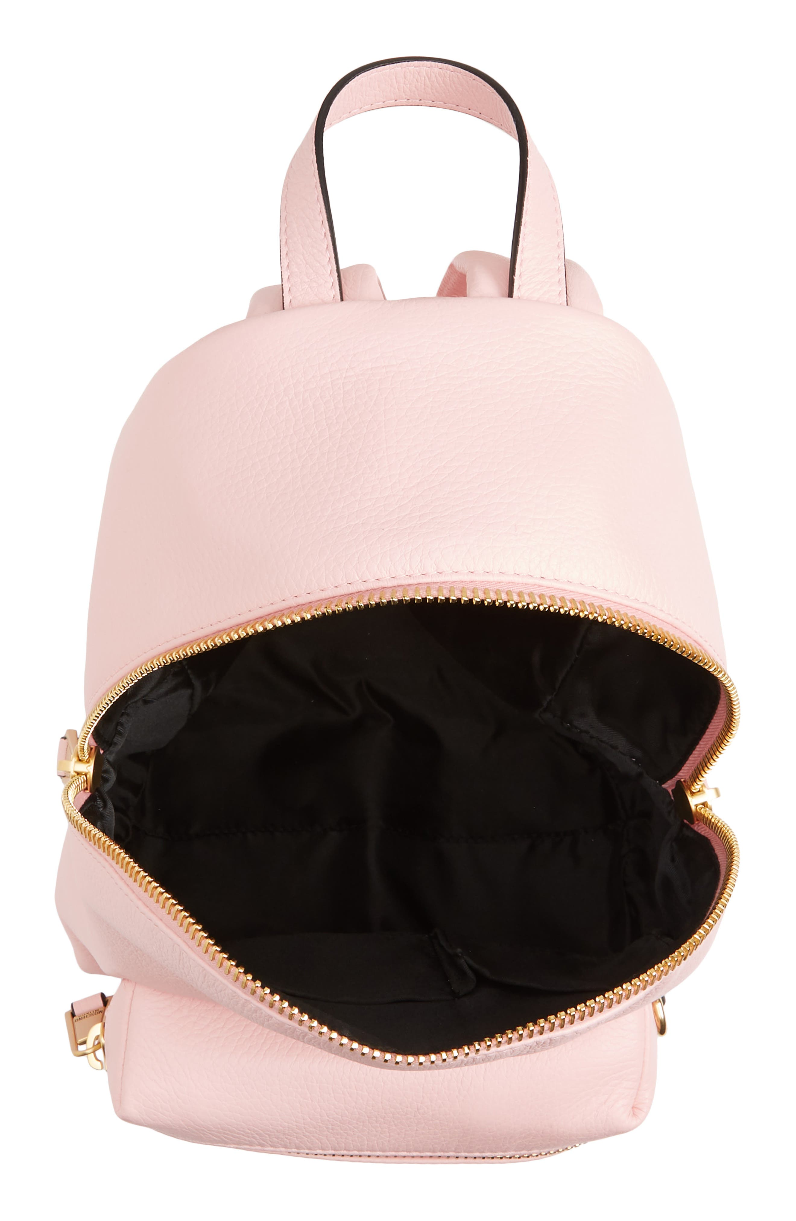 MOSCHINO,                             Logo Leather Backpack,                             Alternate thumbnail 4, color,                             PINK