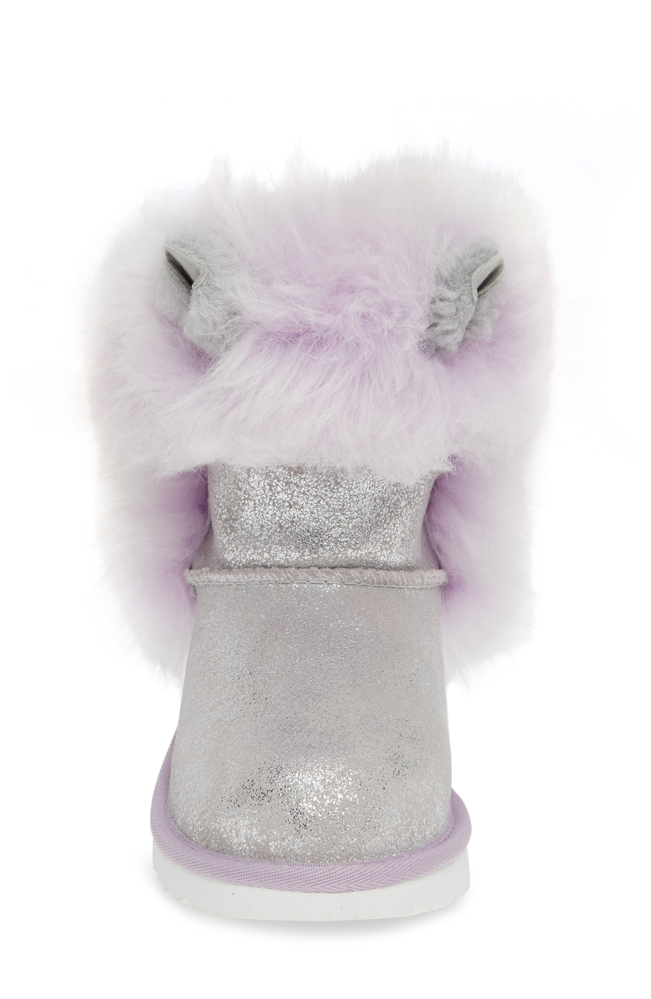 Maizey Classic Genuine Shearling Glitter Boot,                             Alternate thumbnail 4, color,                             SILVER / LAVENDER
