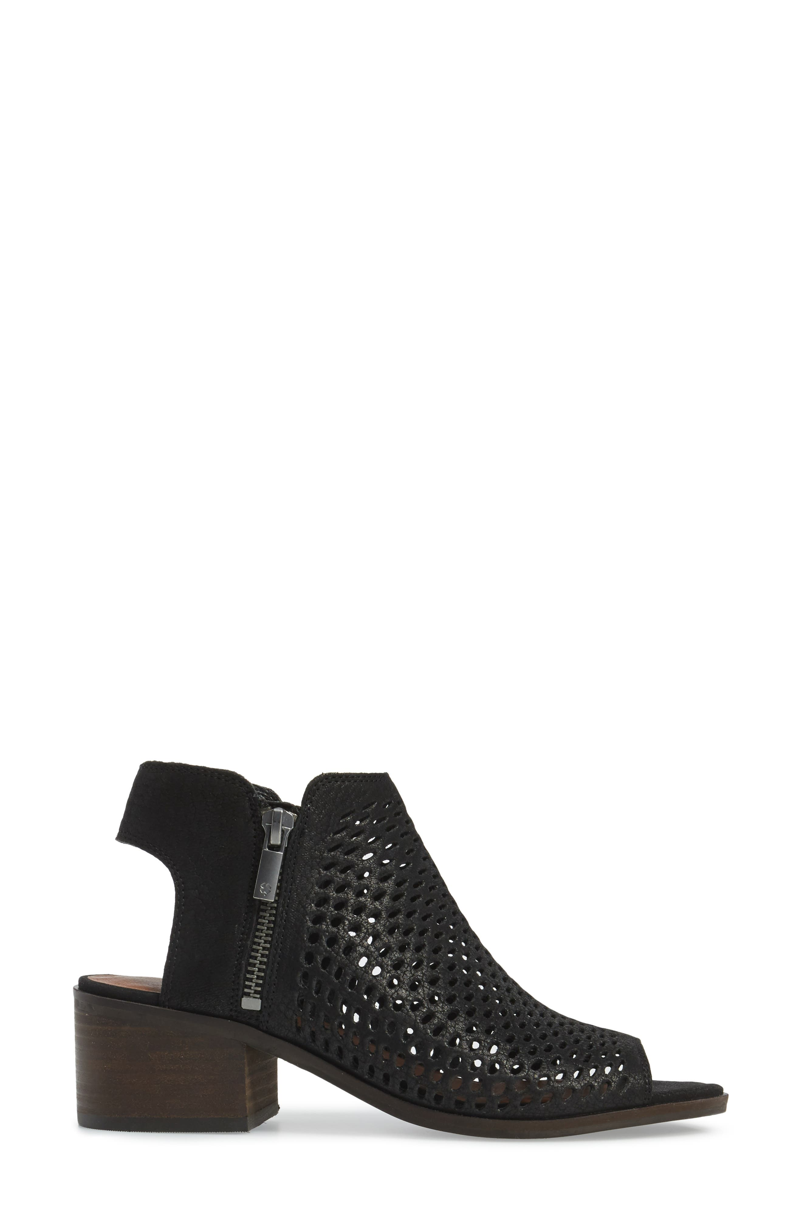 Nelwyna Perforated Bootie Sandal,                             Alternate thumbnail 3, color,                             001