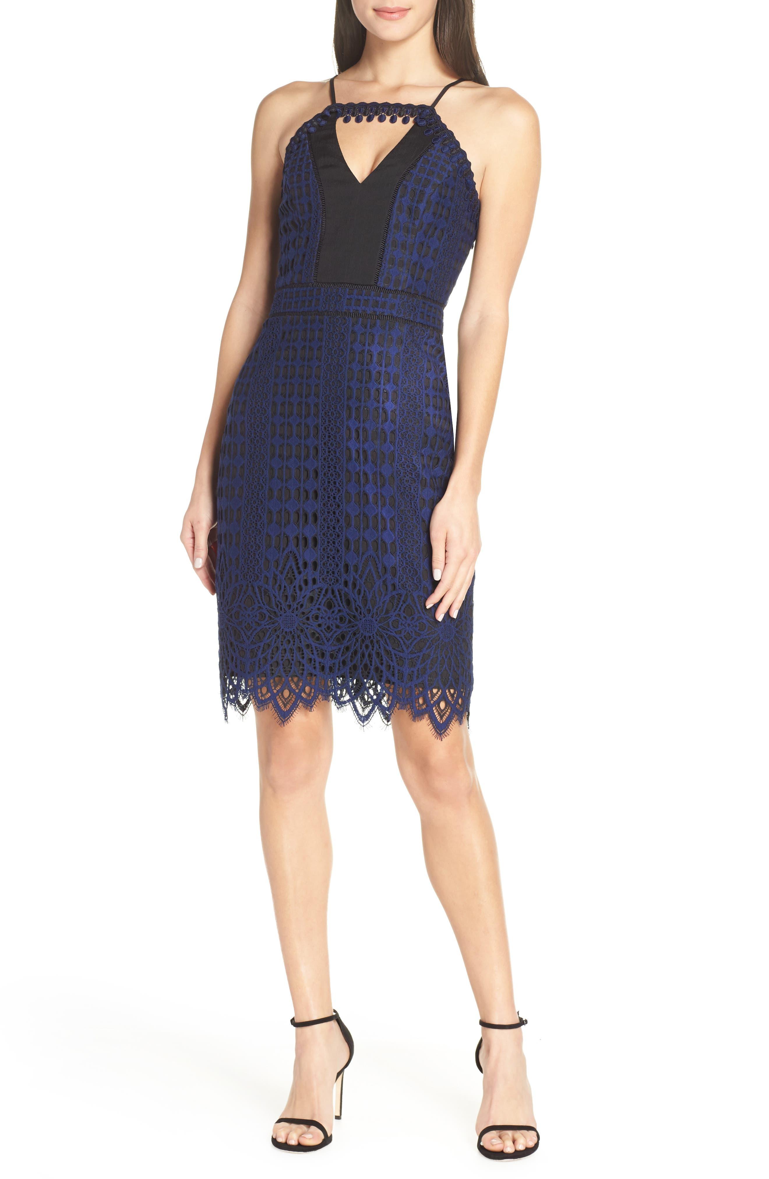 HARLYN,                             Contrast Chiffon Lace Halter Body-Con Dress,                             Main thumbnail 1, color,                             NAVY