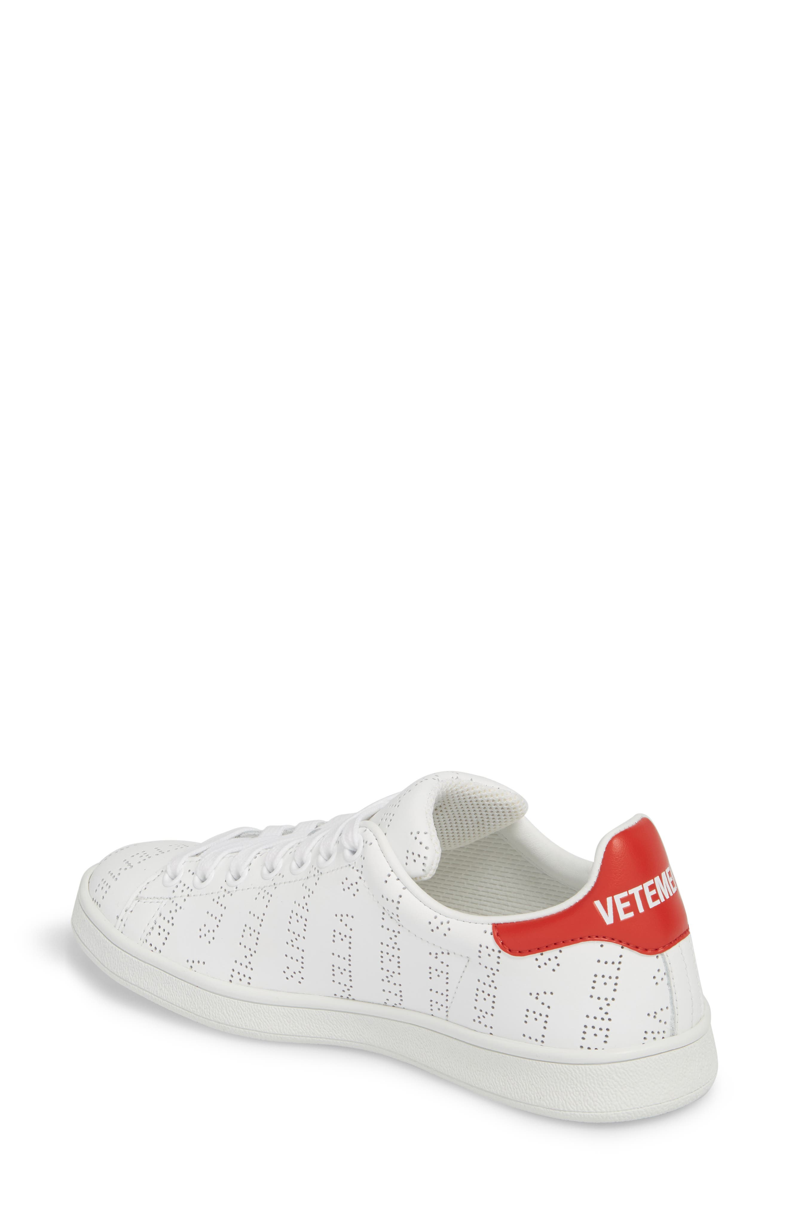 Perforated Sneaker,                             Alternate thumbnail 2, color,                             WHITE RED