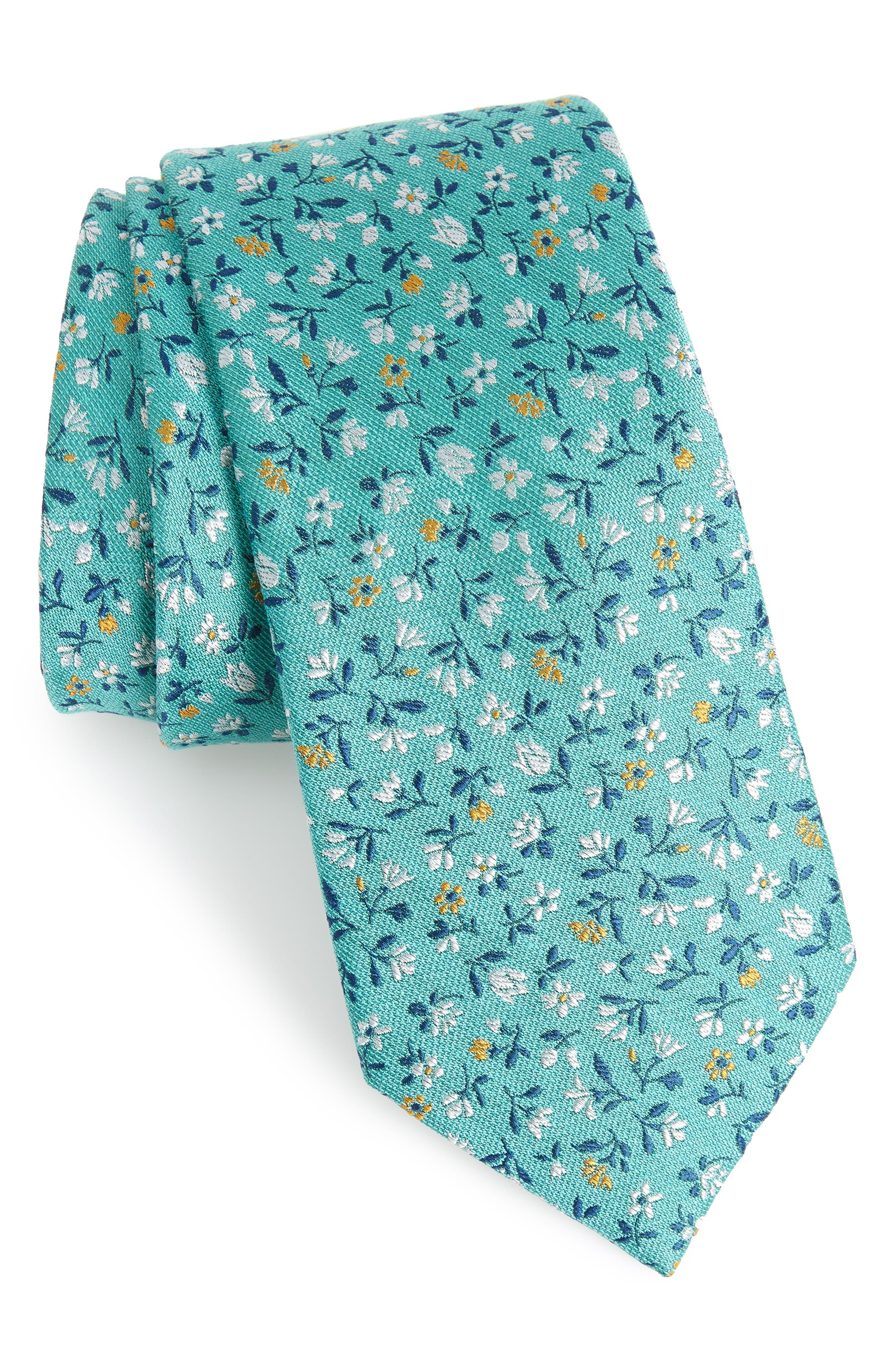 Flower Fields Silk & Cotton Tie,                             Main thumbnail 1, color,                             333