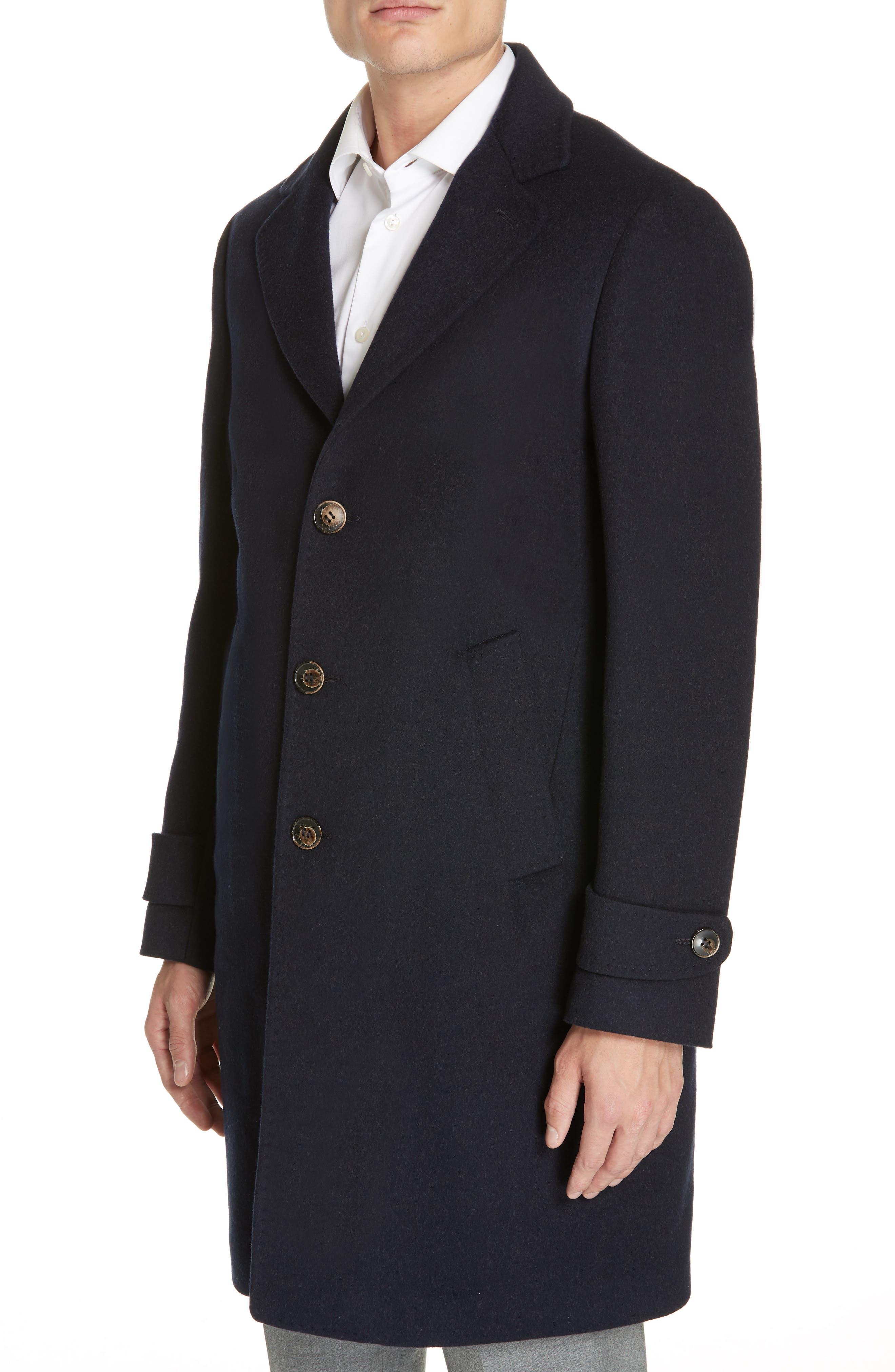 Trim Fit Wool & Cashmere Car Coat,                             Alternate thumbnail 4, color,                             NAVY
