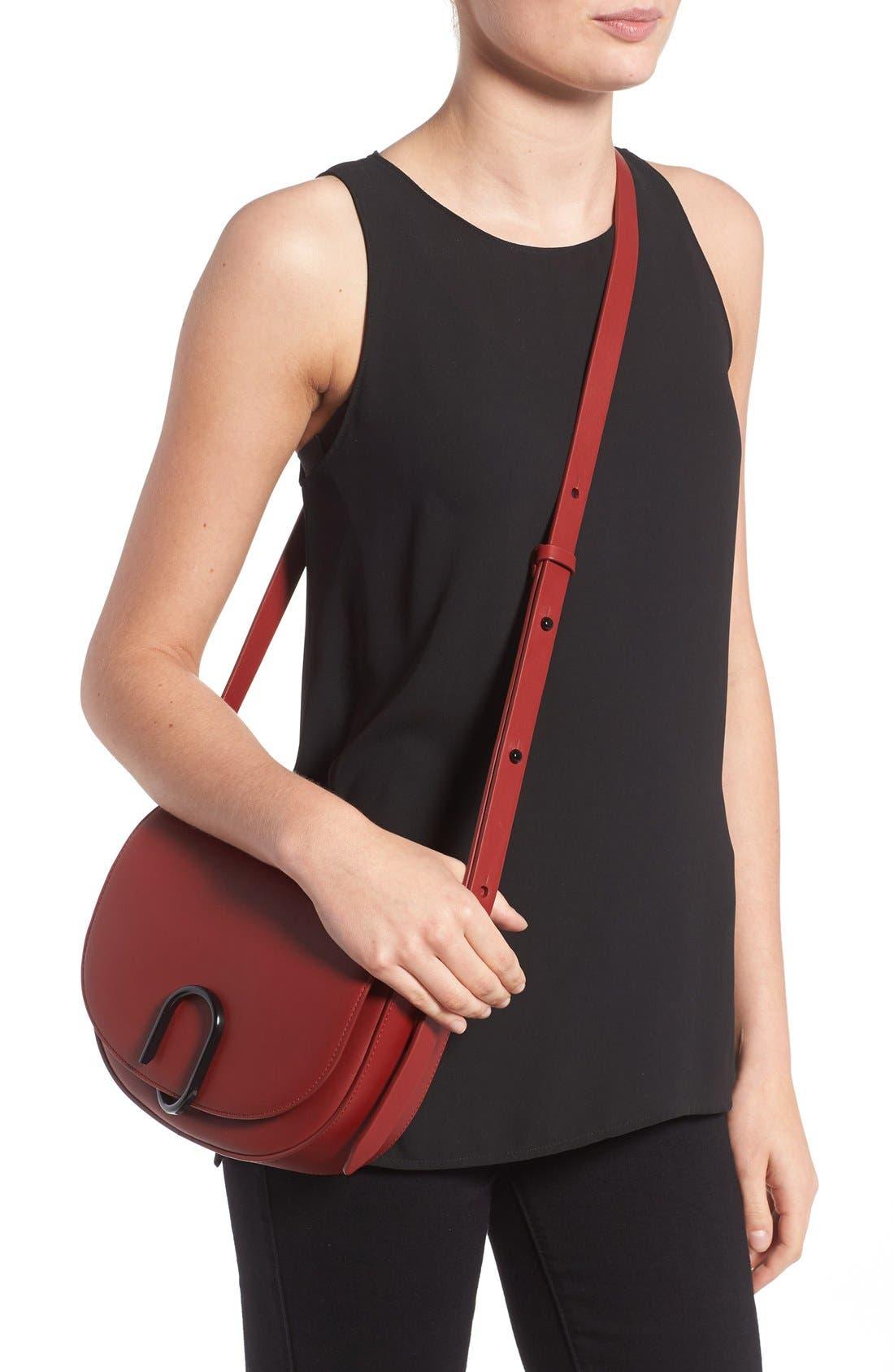 Alix Leather Saddle Bag,                             Alternate thumbnail 6, color,