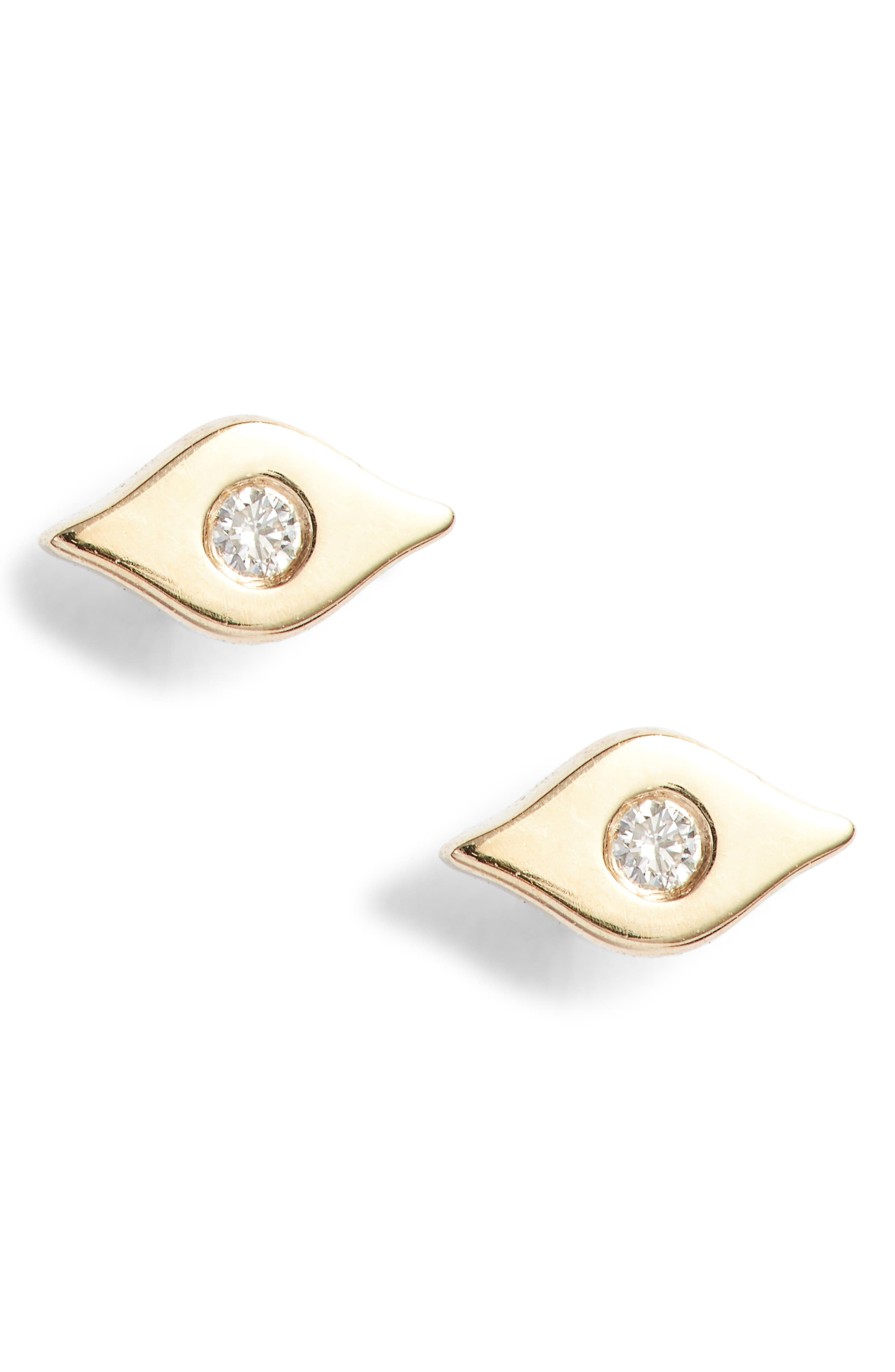 Evil Eye Center Diamond Stud Earrings,                         Main,                         color,