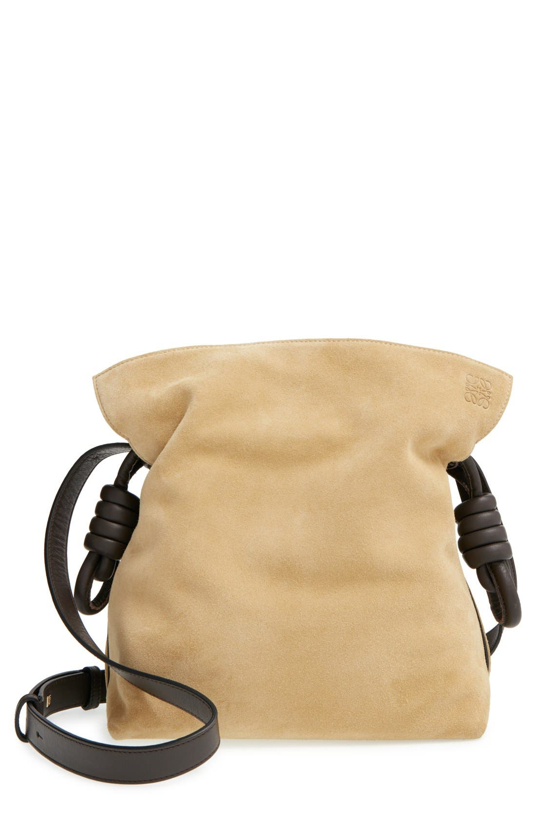 'Flamenco Knot' Suede & Calfskin Leather Bag, Main, color, 250