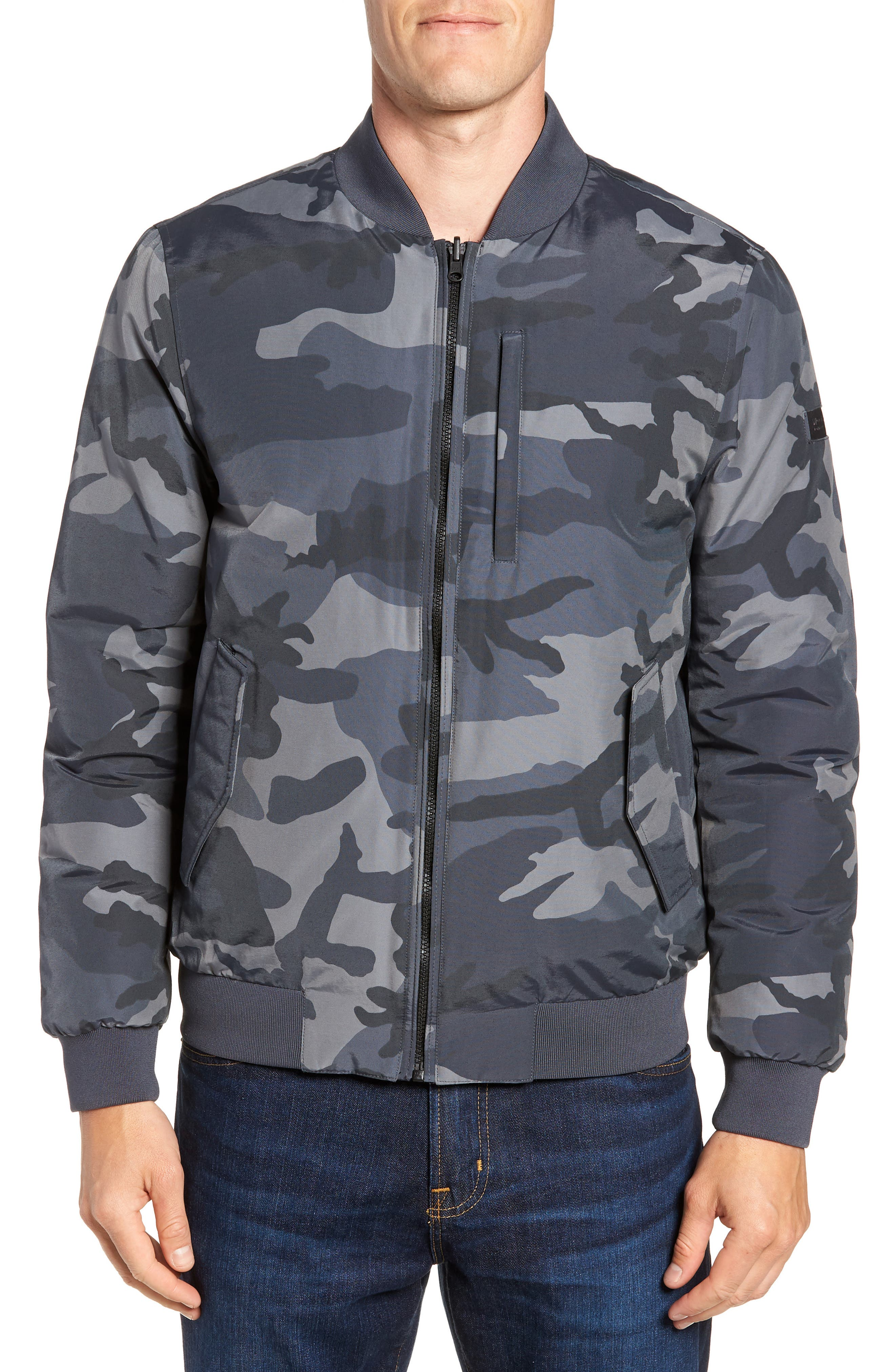 Reversible Camo Down Bomber Jacket,                             Alternate thumbnail 5, color,                             GREY CAMOU