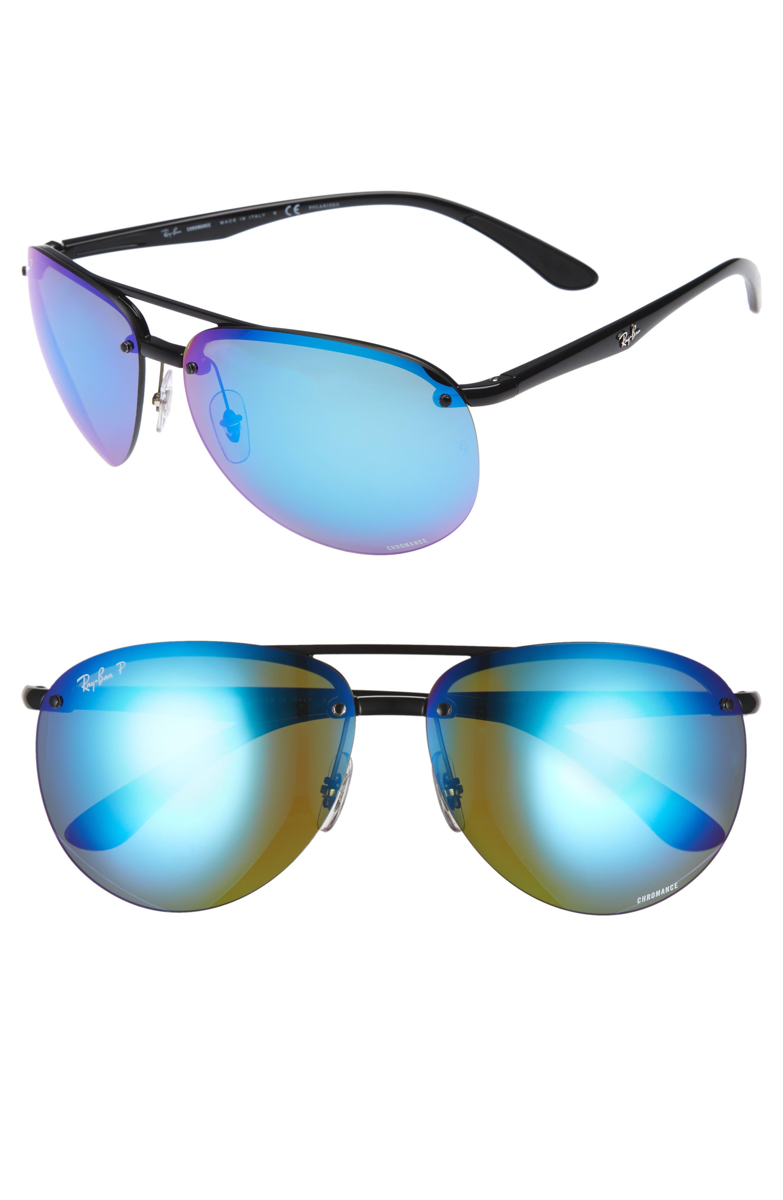 64mm Oversized Polarized Mirrored Rimless Aviator Sunglasses,                             Main thumbnail 1, color,                             001