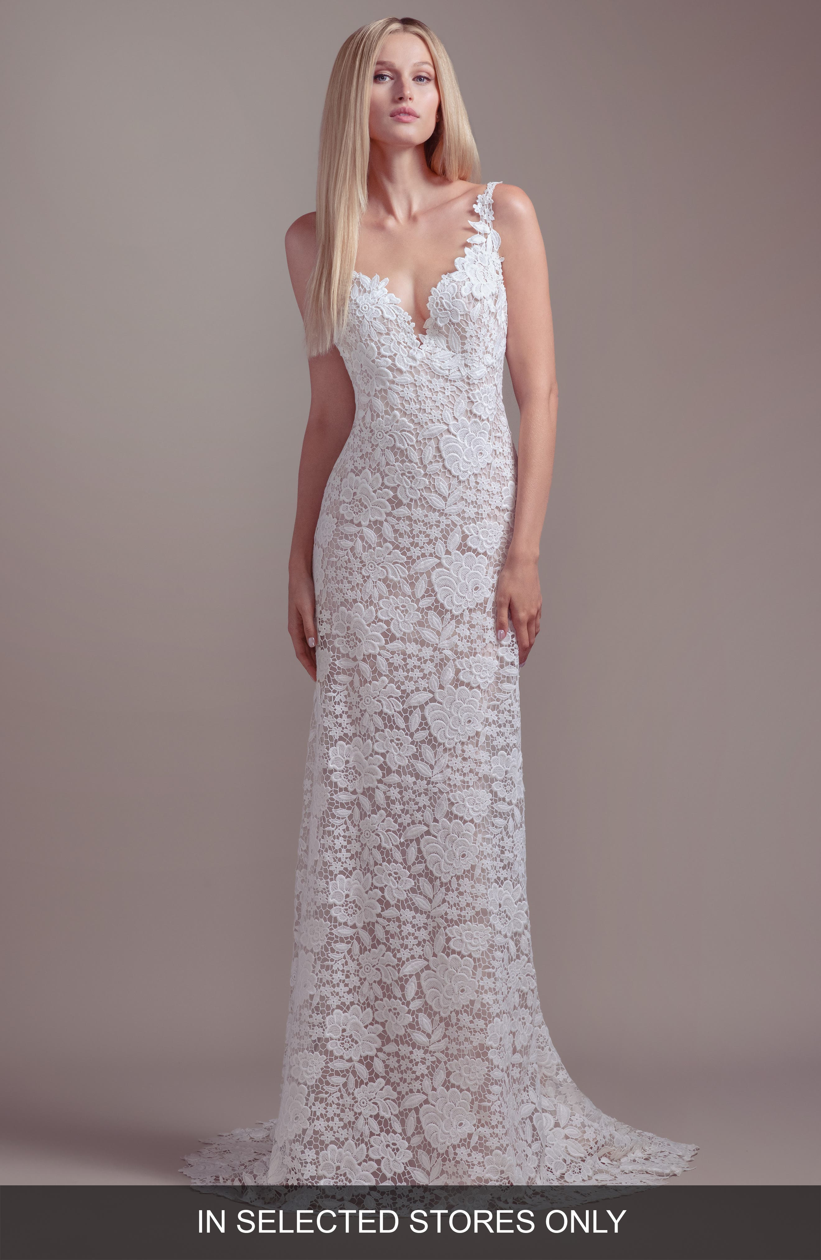 Blush By Hayley Paige Atlas V-Neck Lace Wedding Dress, Size IN STORE ONLY - Ivory