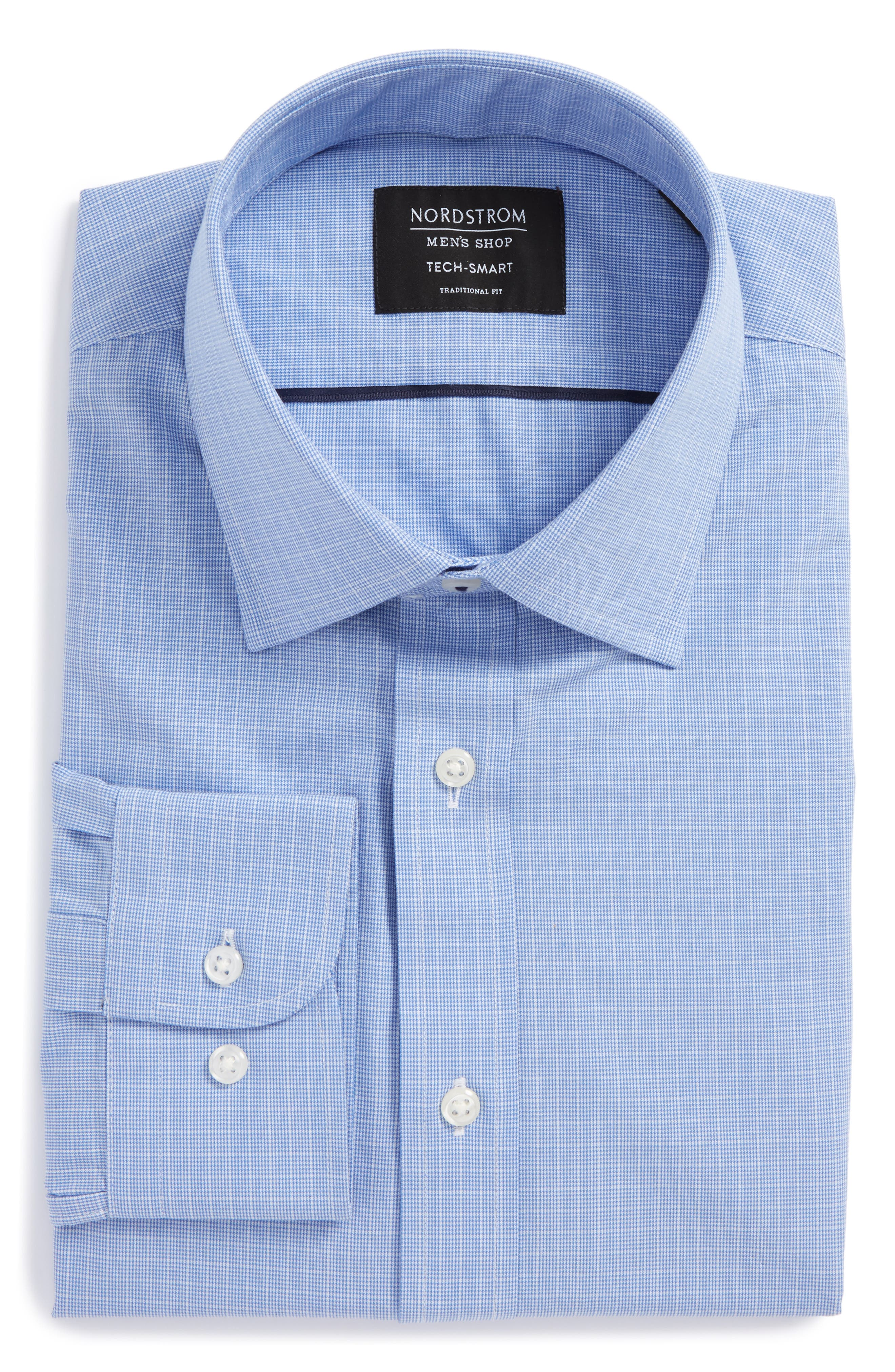 Tech-Smart Traditional Fit Stretch Check Dress Shirt,                             Alternate thumbnail 3, color,                             450