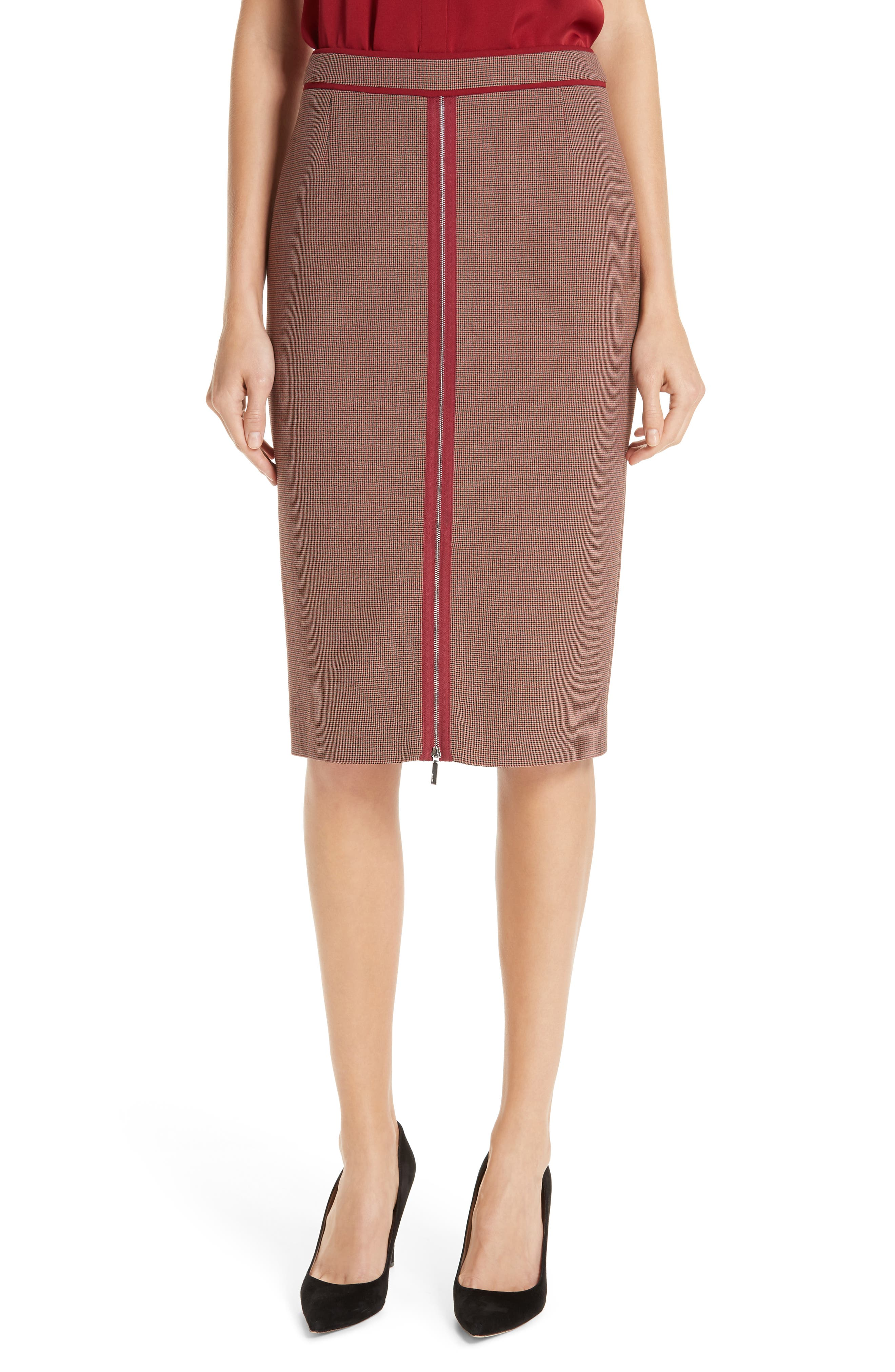 Voliviena Pencil Skirt, Main, color, DARK RED CHECK