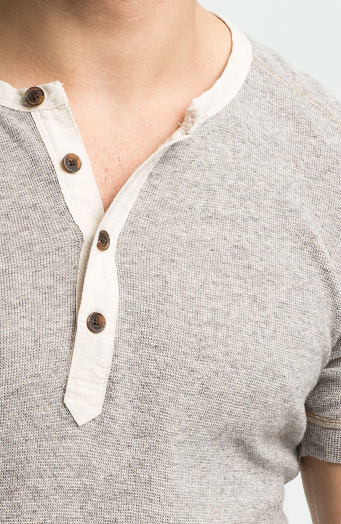 Waffle Knit Henley T-Shirt,                             Alternate thumbnail 3, color,                             024