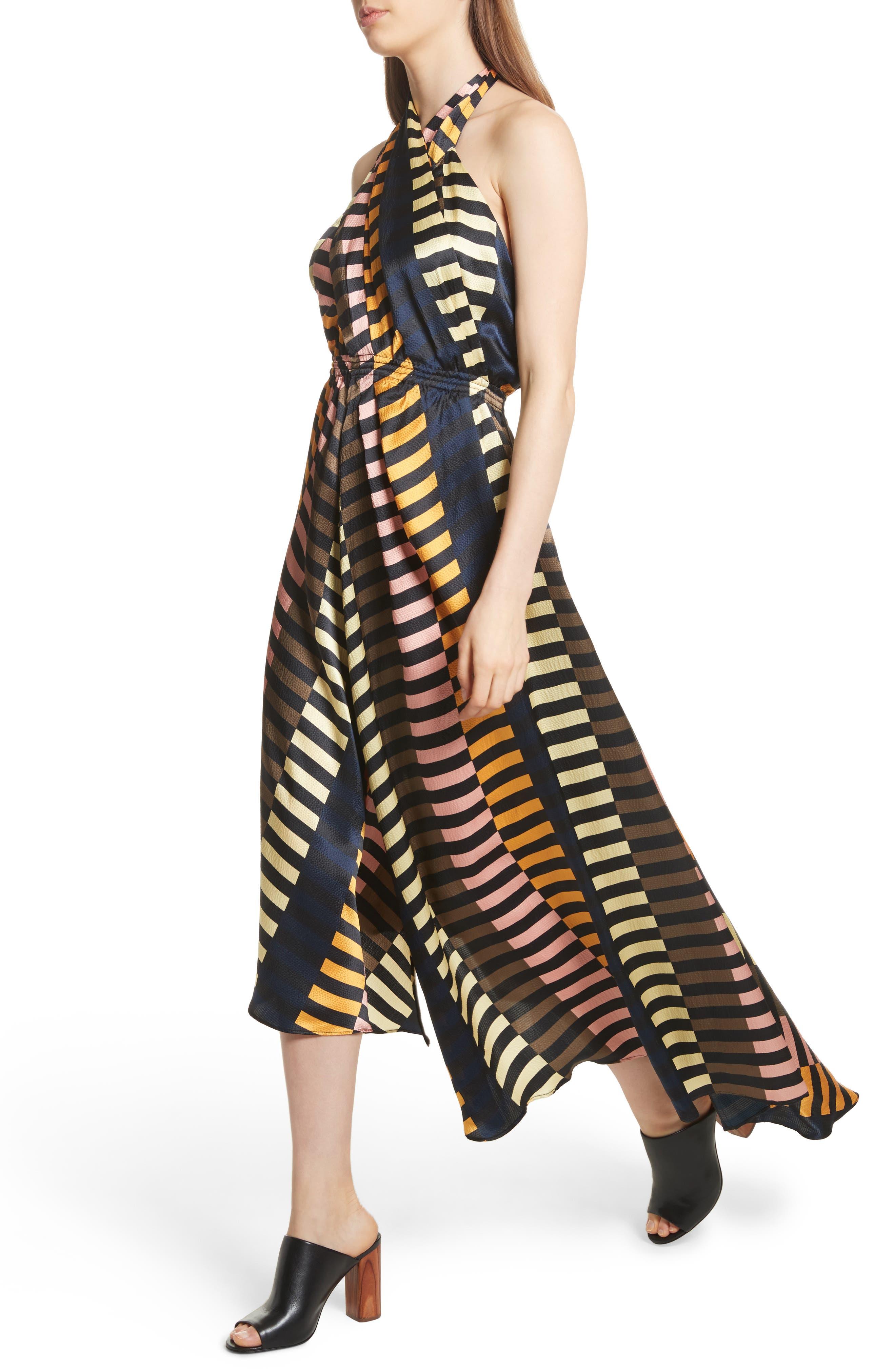 Nightingale Silk Halter Dress,                             Alternate thumbnail 4, color,                             001