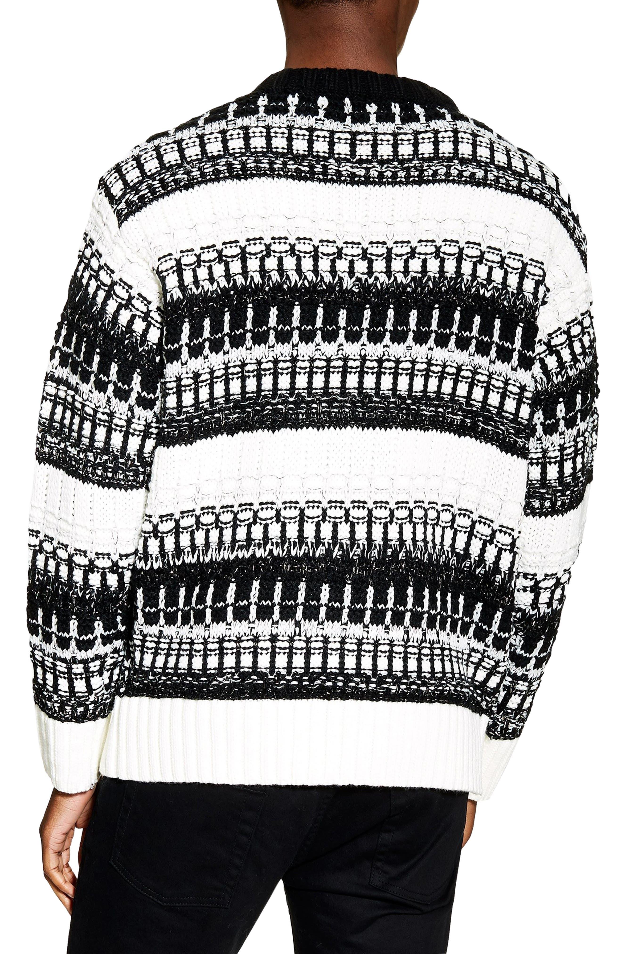 TOPMAN,                             Mono Texture Sweater,                             Alternate thumbnail 2, color,                             CREAM MULTI