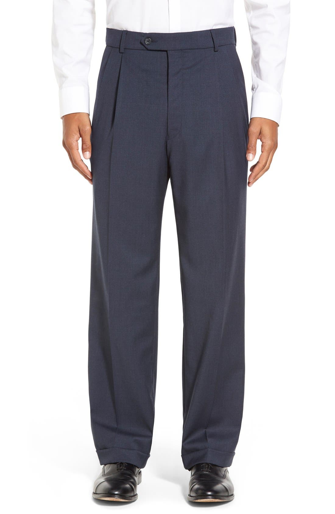 Pleated Solid Wool Trousers,                             Main thumbnail 13, color,