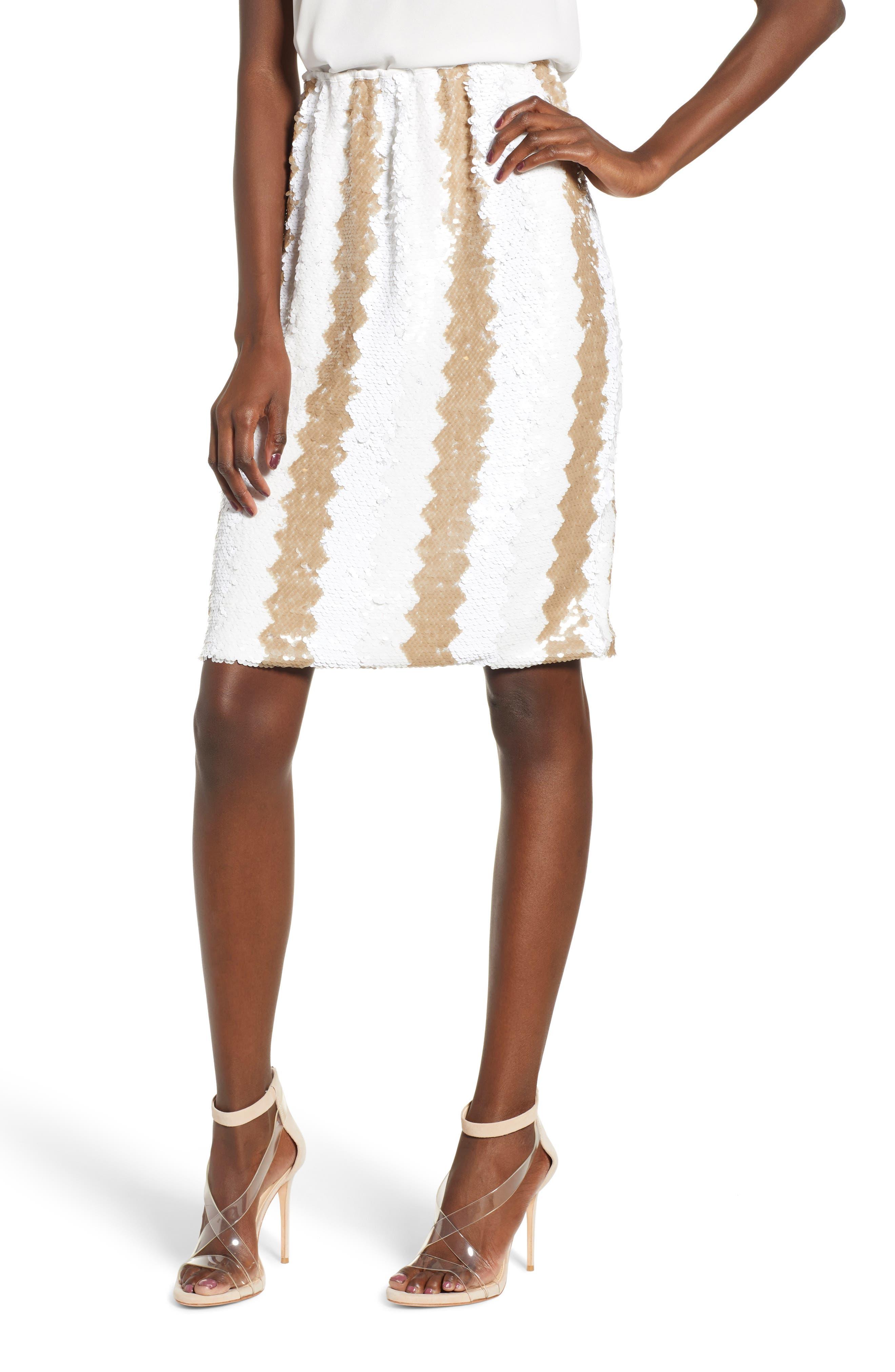 Sequin Pencil Skirt,                             Main thumbnail 1, color,                             100
