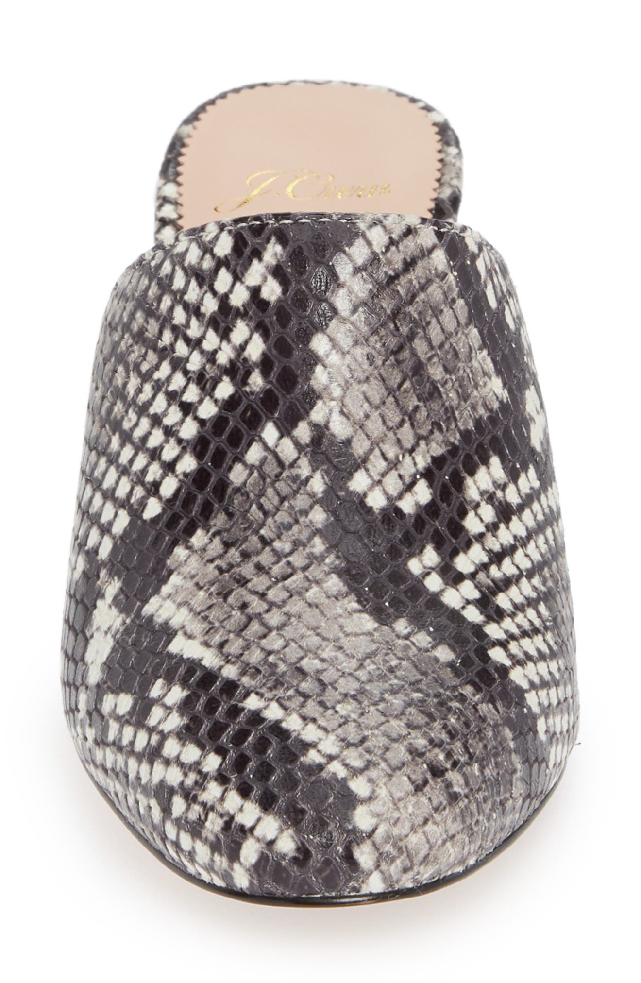 Block Heel Mule,                             Alternate thumbnail 4, color,                             GREY SNAKE EMBOSSED LEATHER