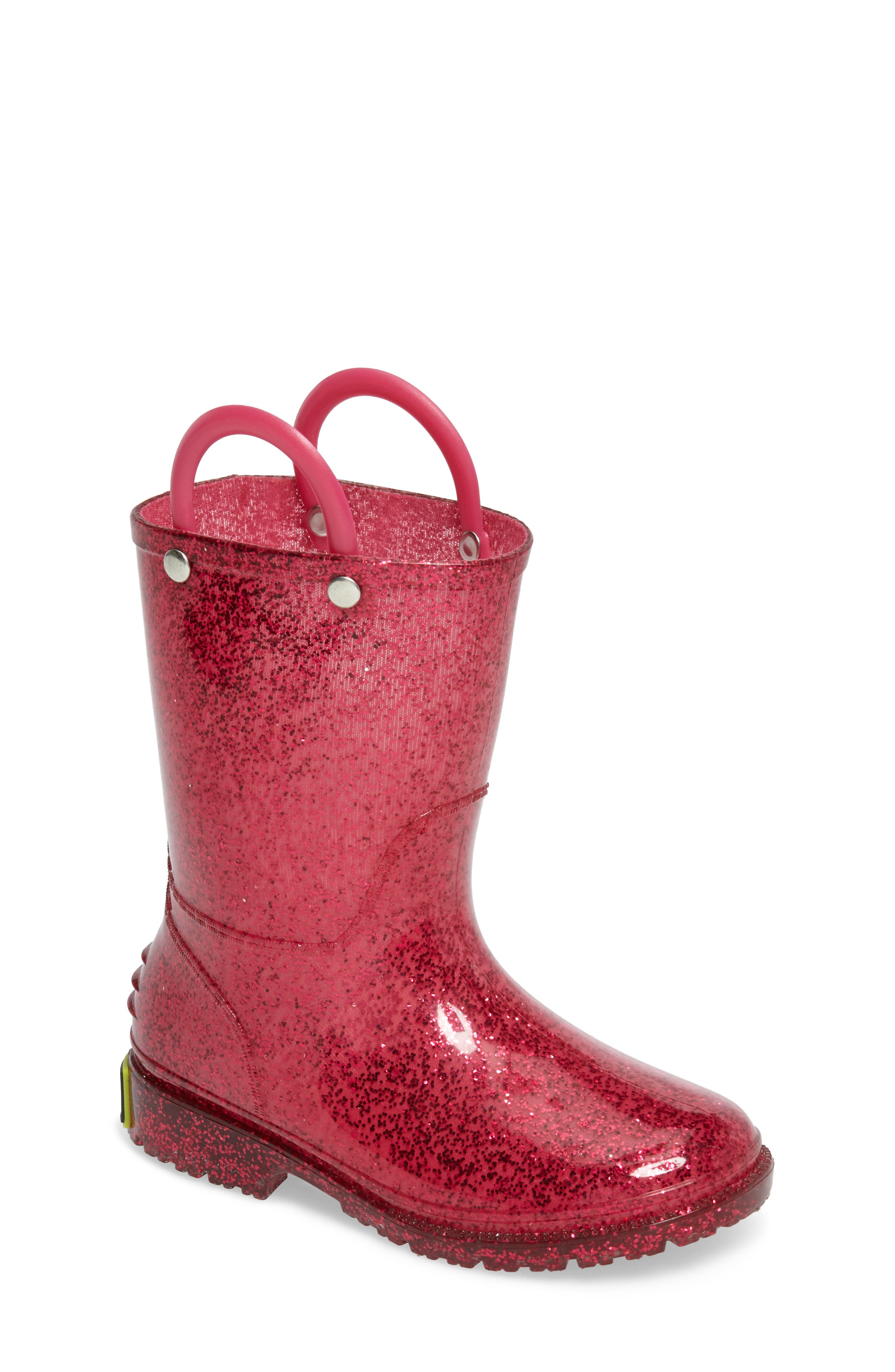 Glitter Waterproof Rain Boot,                             Main thumbnail 1, color,                             PINK