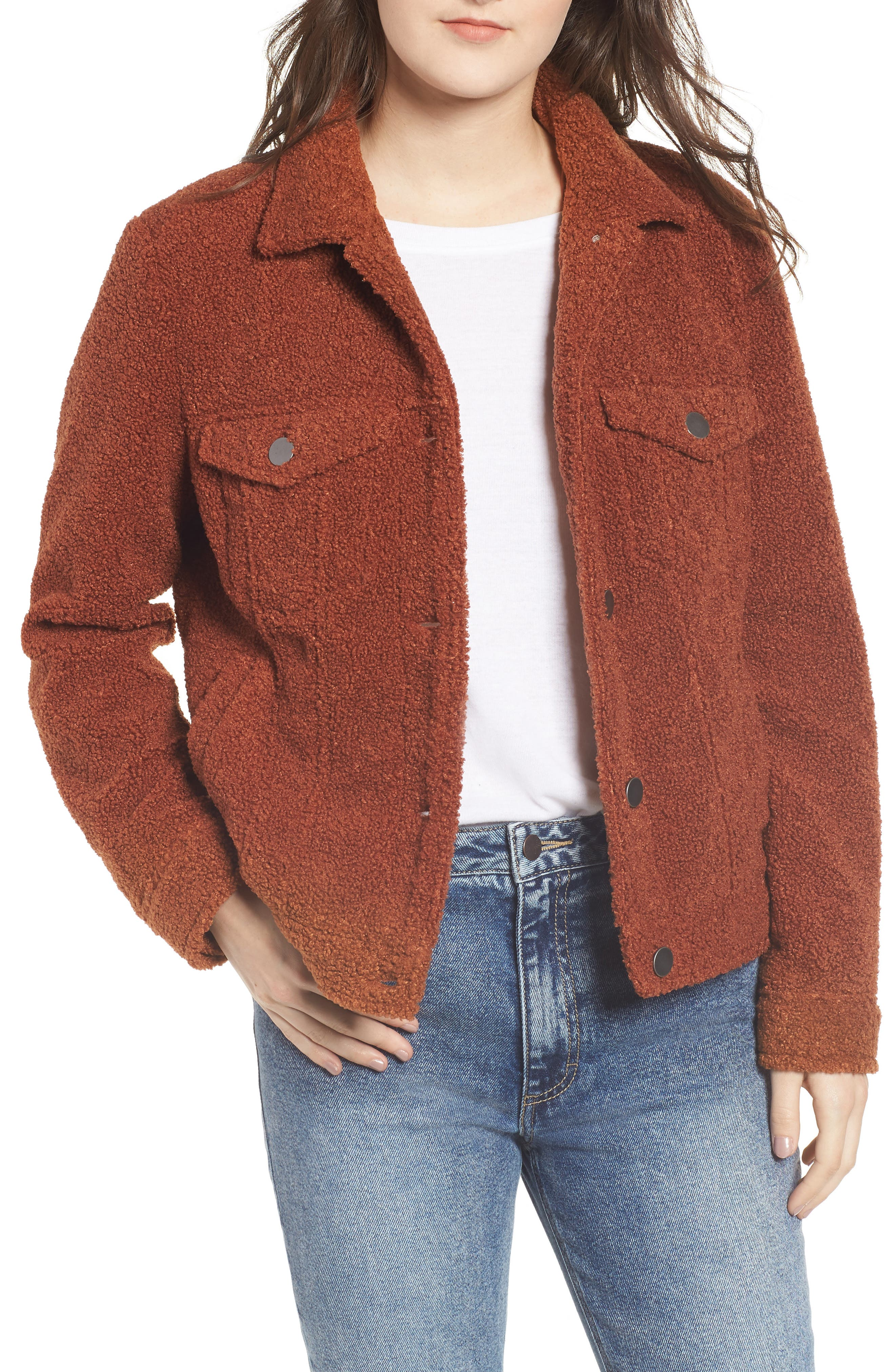 BP.,                             Faux Fur Trucker Jacket,                             Main thumbnail 1, color,                             221