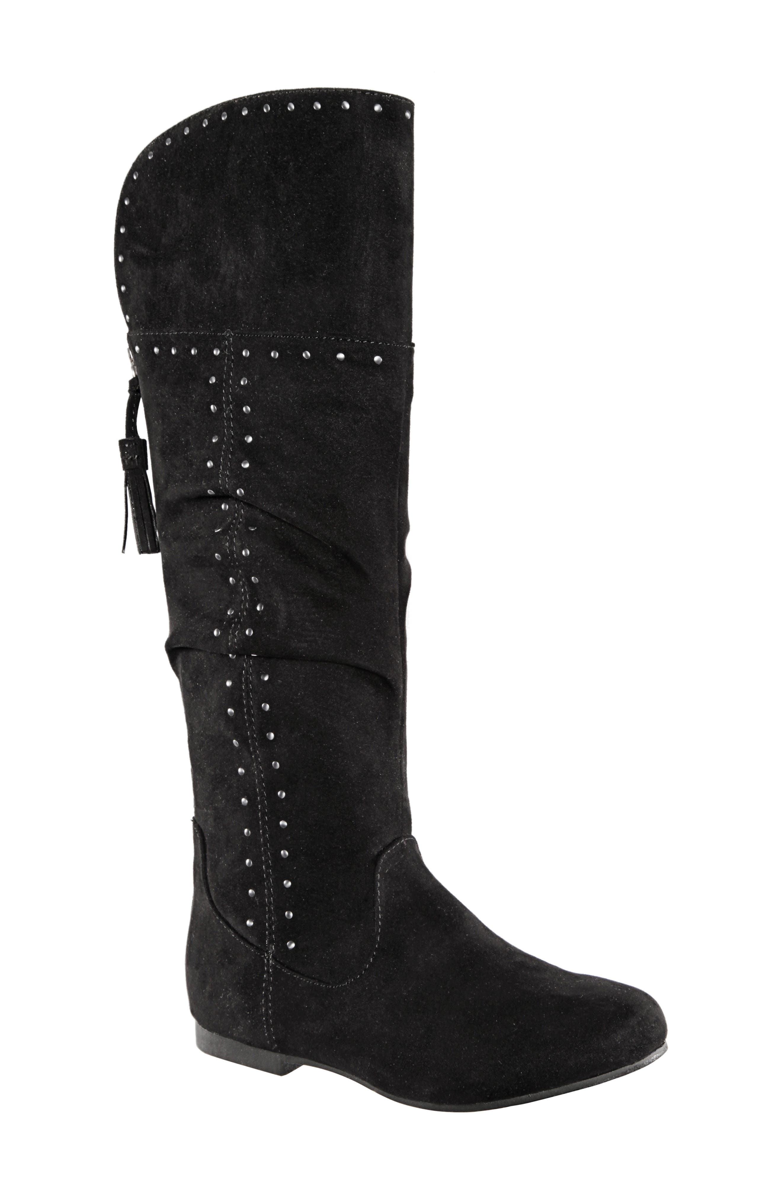 Gem Slouchy Studded Boot,                             Main thumbnail 1, color,                             BLACK MICRO SUEDE