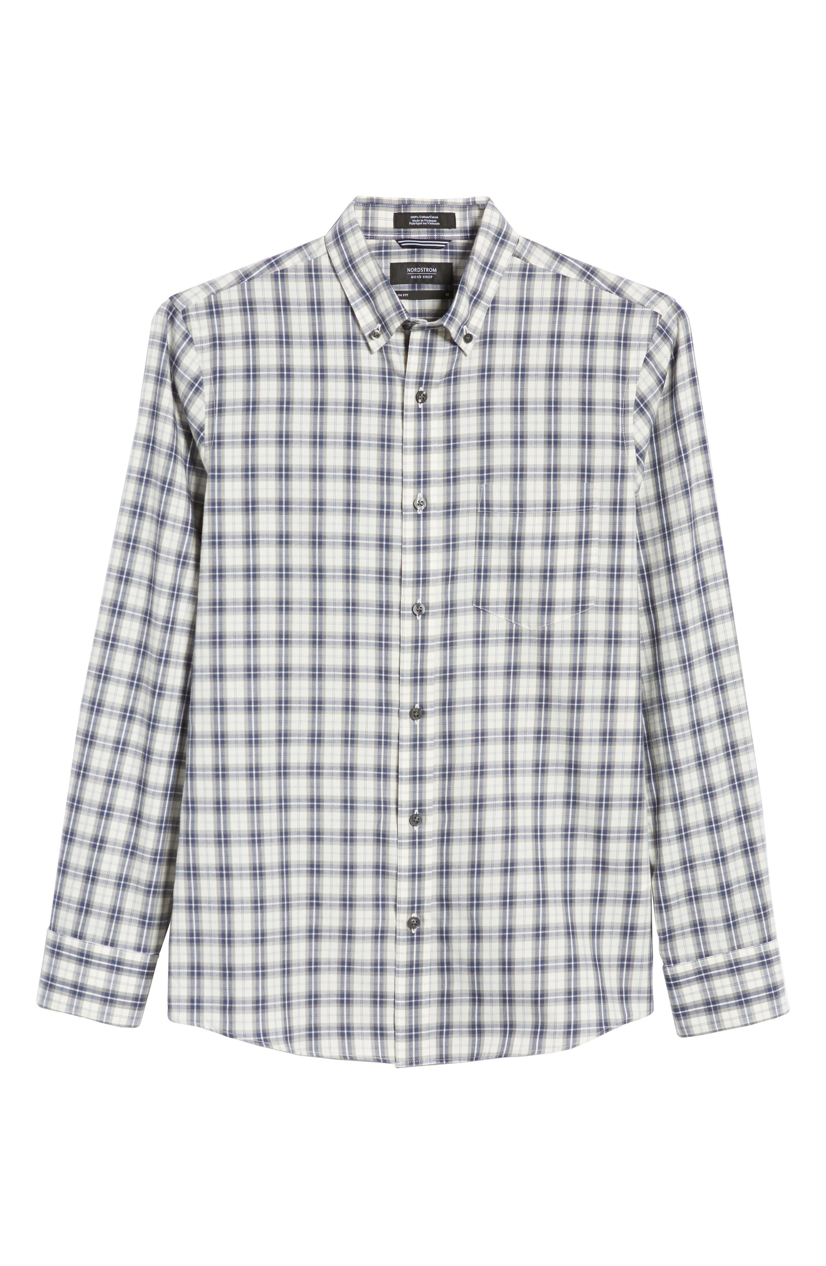 Slim Fit Plaid Sport Shirt,                             Alternate thumbnail 5, color,                             WHITE BLUE ENSIGN GREY PLAID