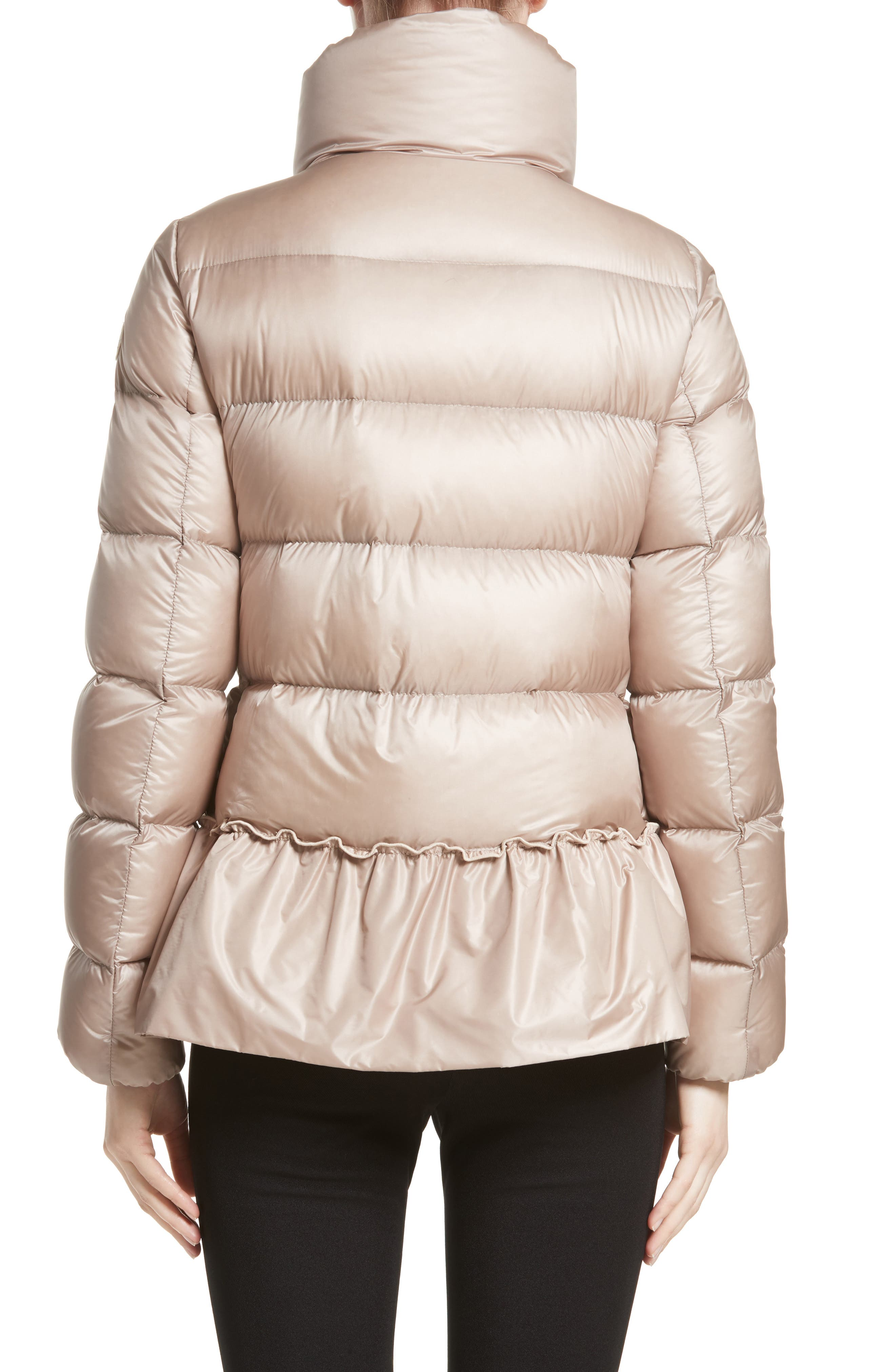 Anet Peplum Down Puffer Jacket,                             Alternate thumbnail 3, color,                             NATURAL