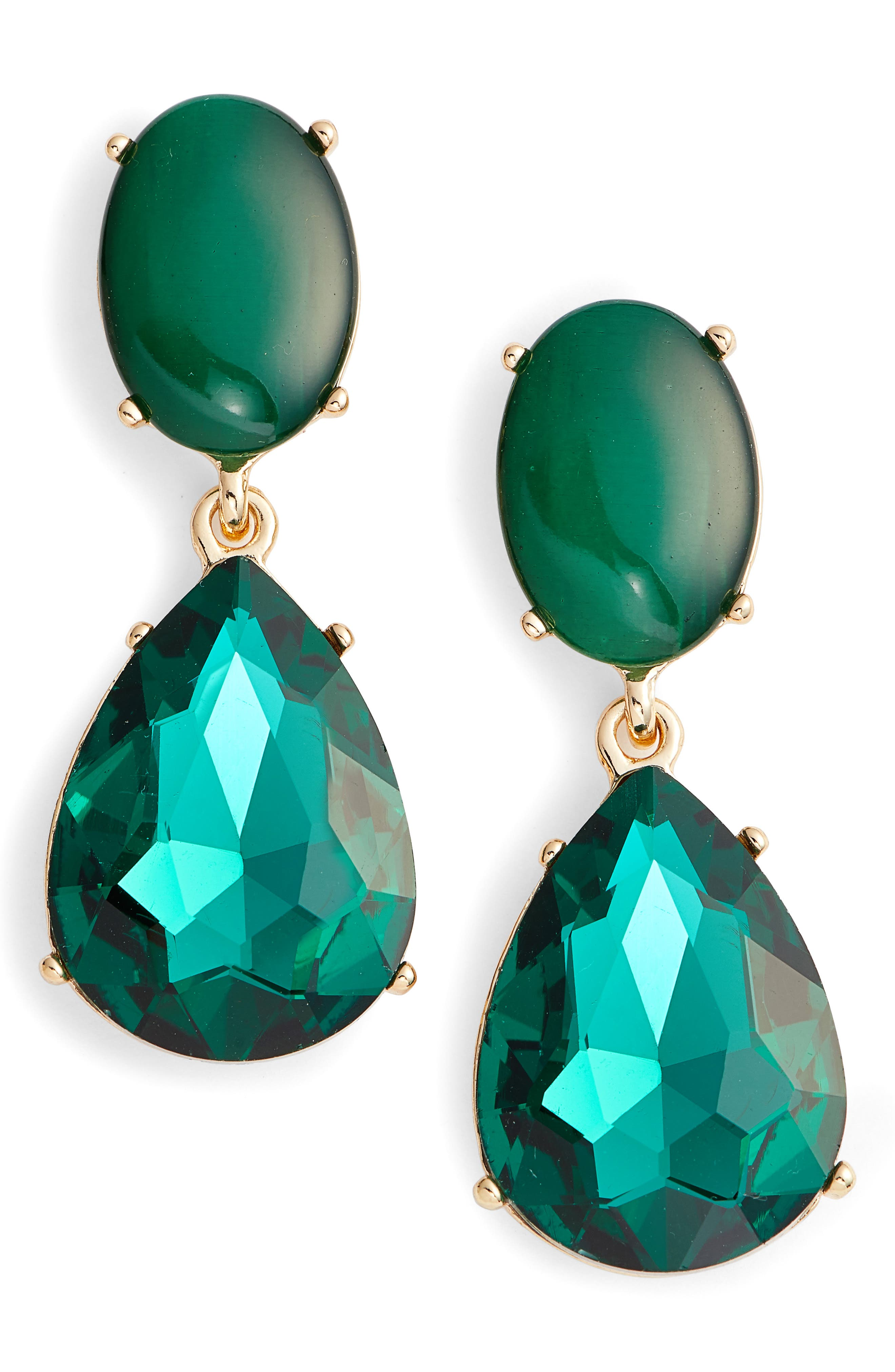 Gemstone Statement Double Drop Earrings,                             Main thumbnail 1, color,                             310