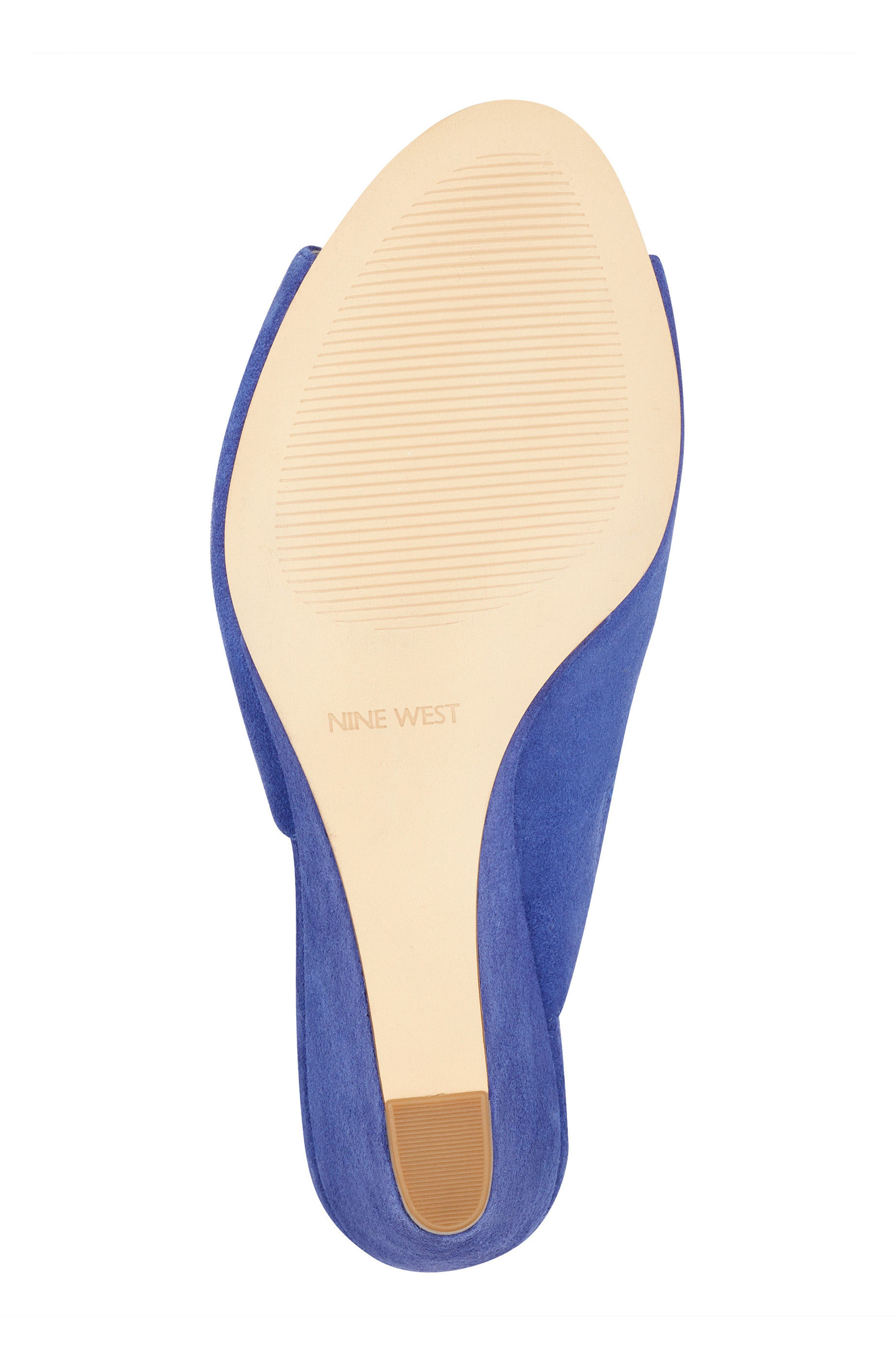 Janissah Wedge,                             Alternate thumbnail 6, color,                             DARK BLUE SUEDE