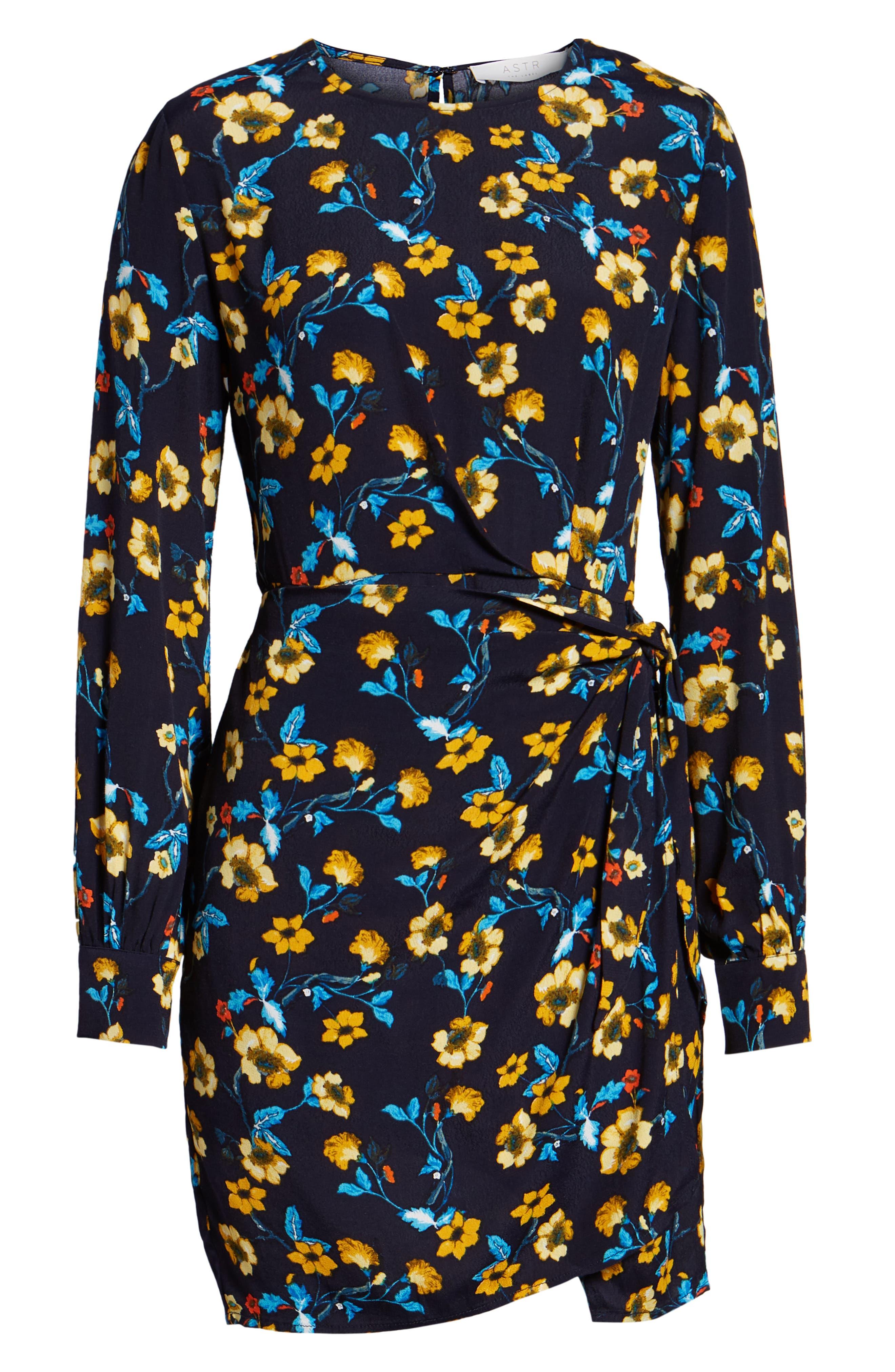 Apron Front Long Sleeve Dress,                             Alternate thumbnail 6, color,                             400
