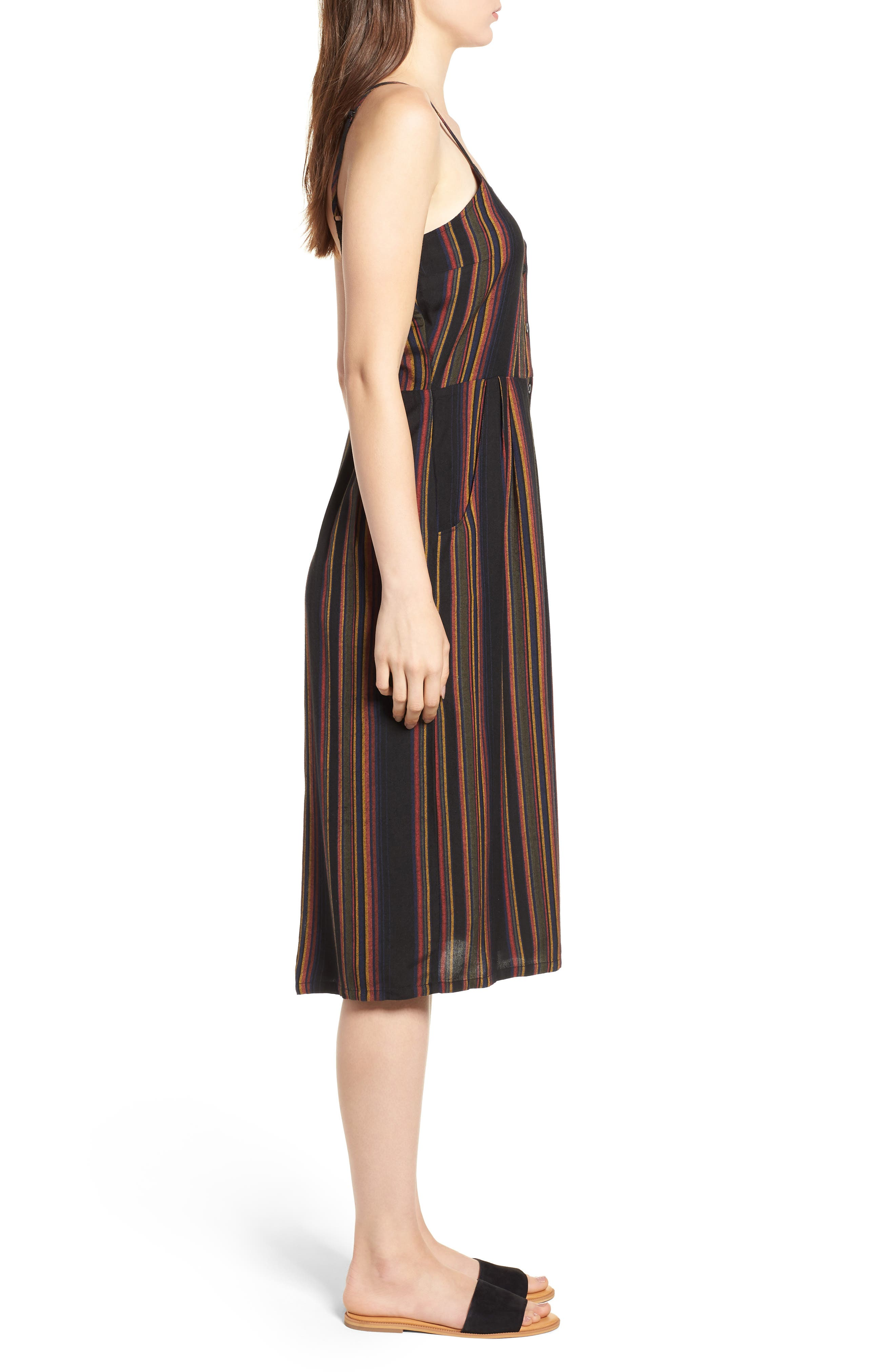 Medway Stripe Midi Dress,                             Alternate thumbnail 3, color,                             001