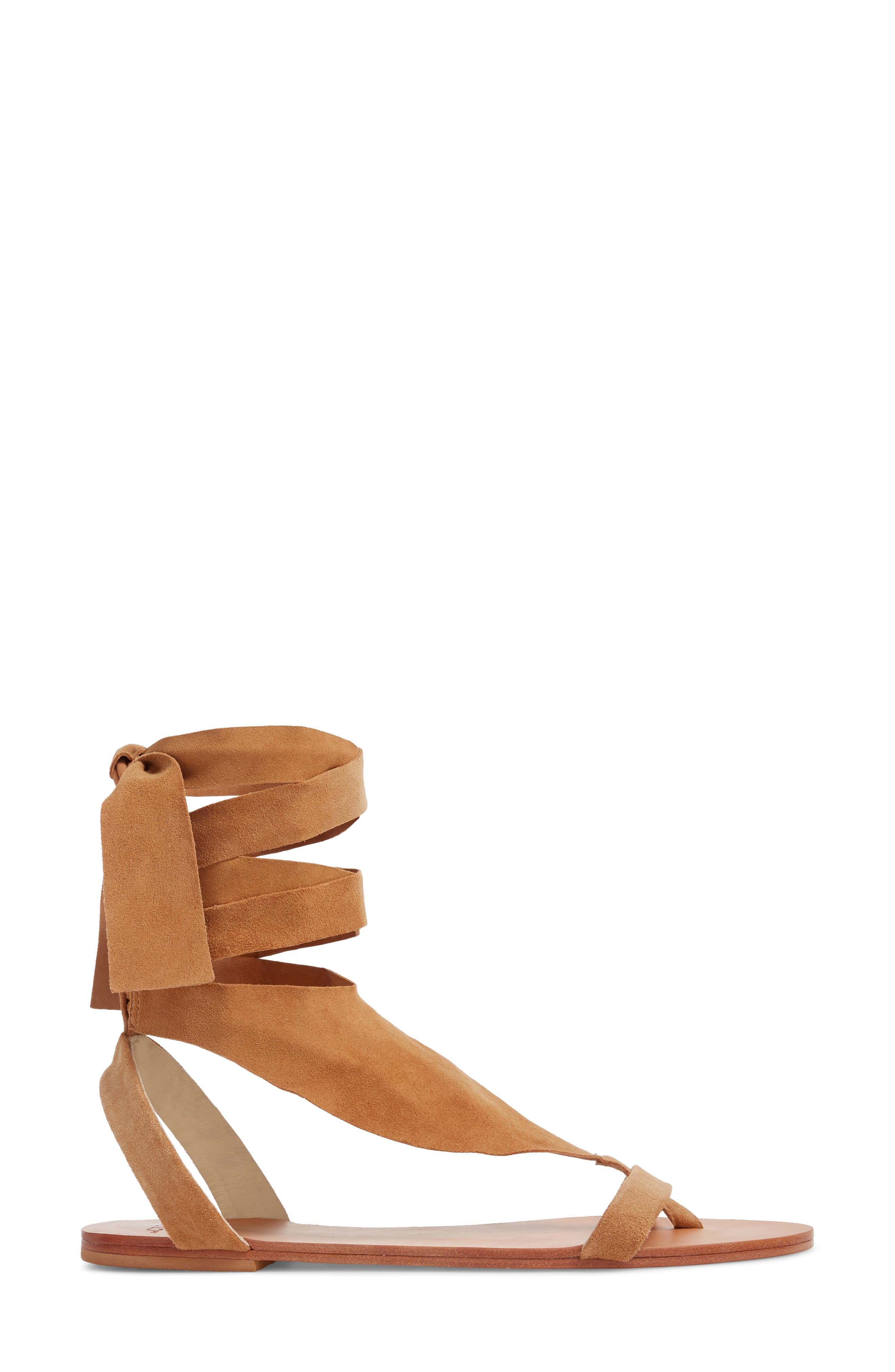 Scarf Tie Sandal,                             Alternate thumbnail 3, color,                             CAMEL