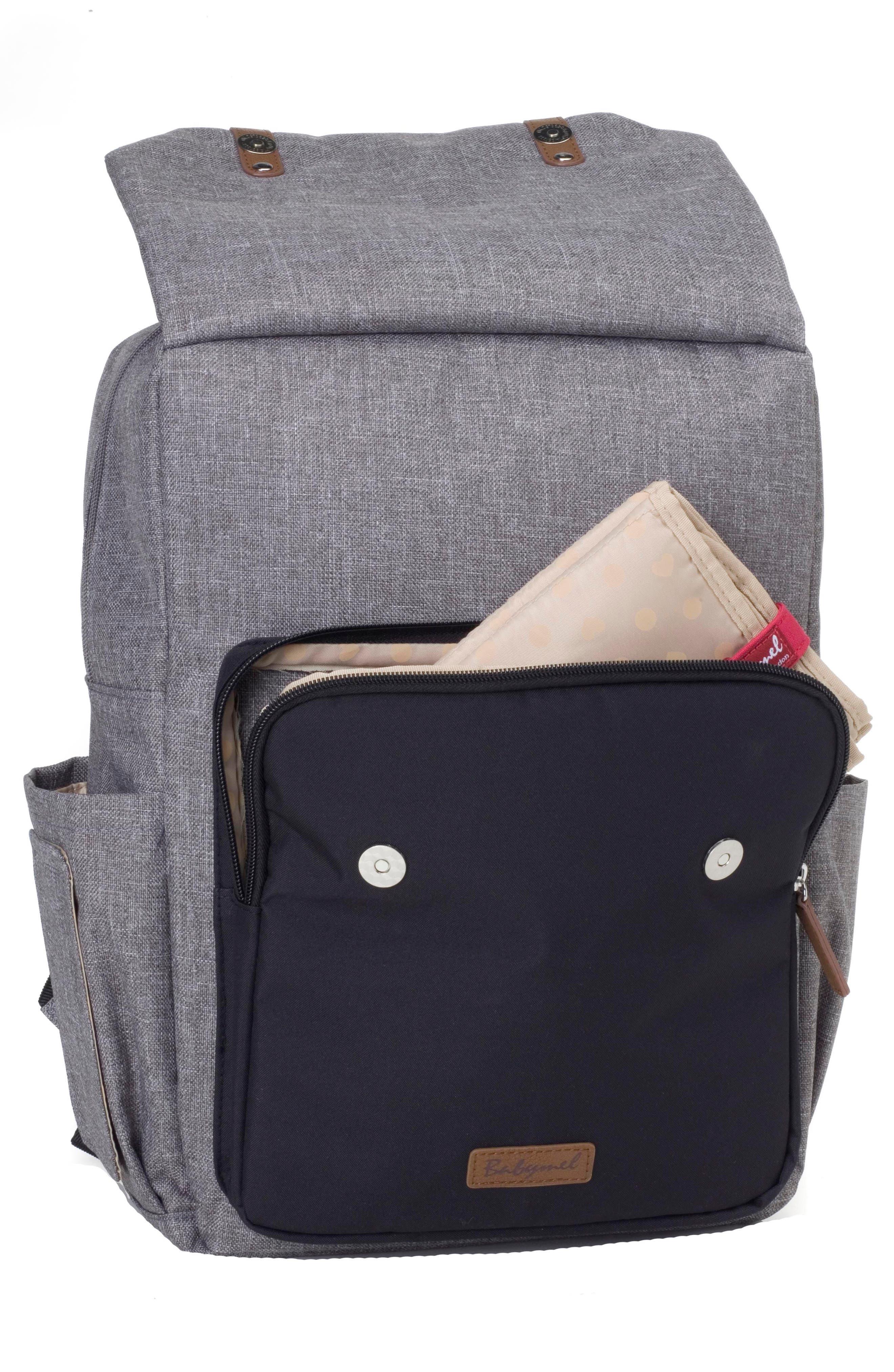 George Water Resistant Diaper Backpack,                             Alternate thumbnail 7, color,                             BLACK/ GREY