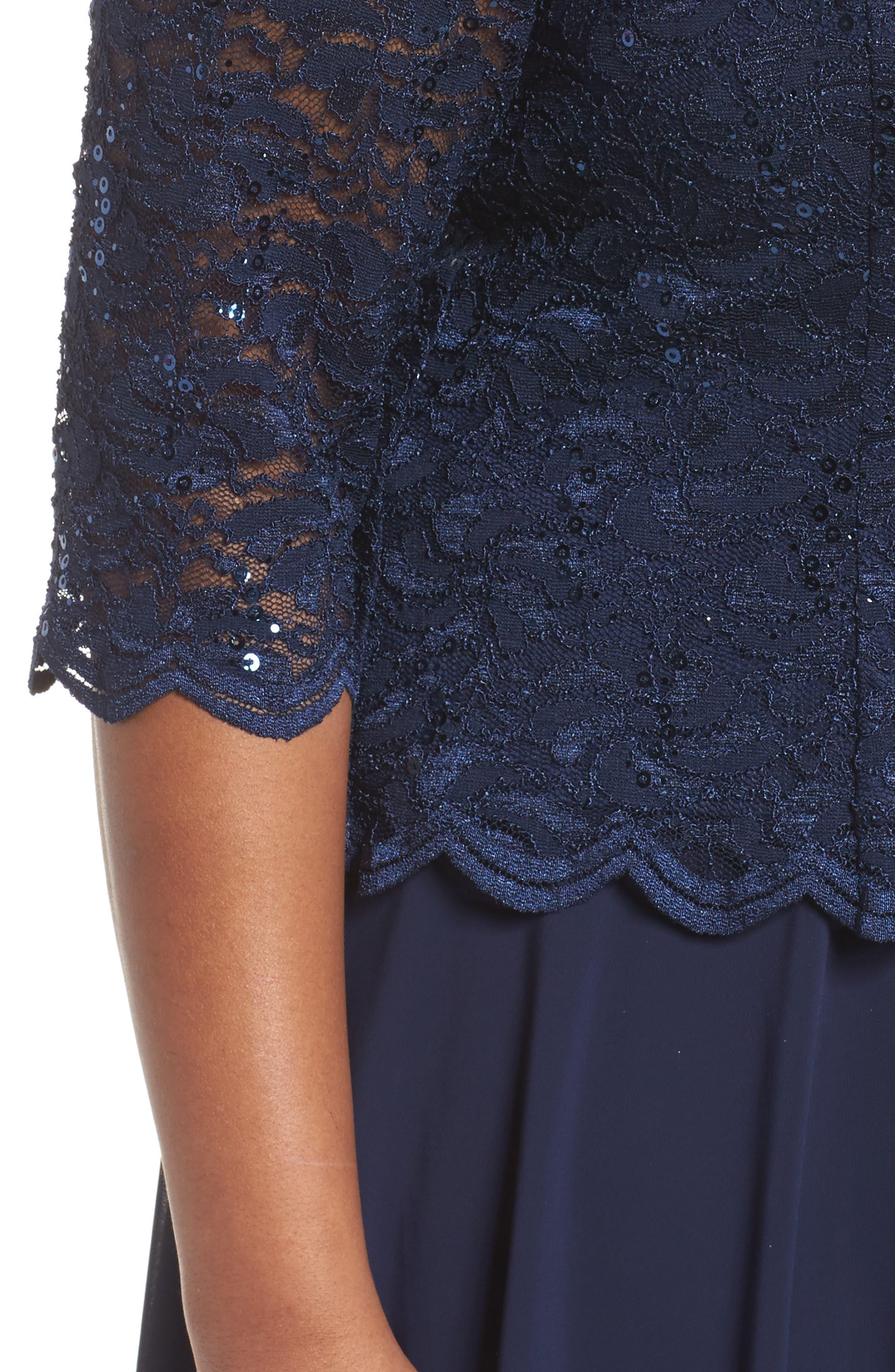 V-Neck Lace Dress,                             Alternate thumbnail 4, color,