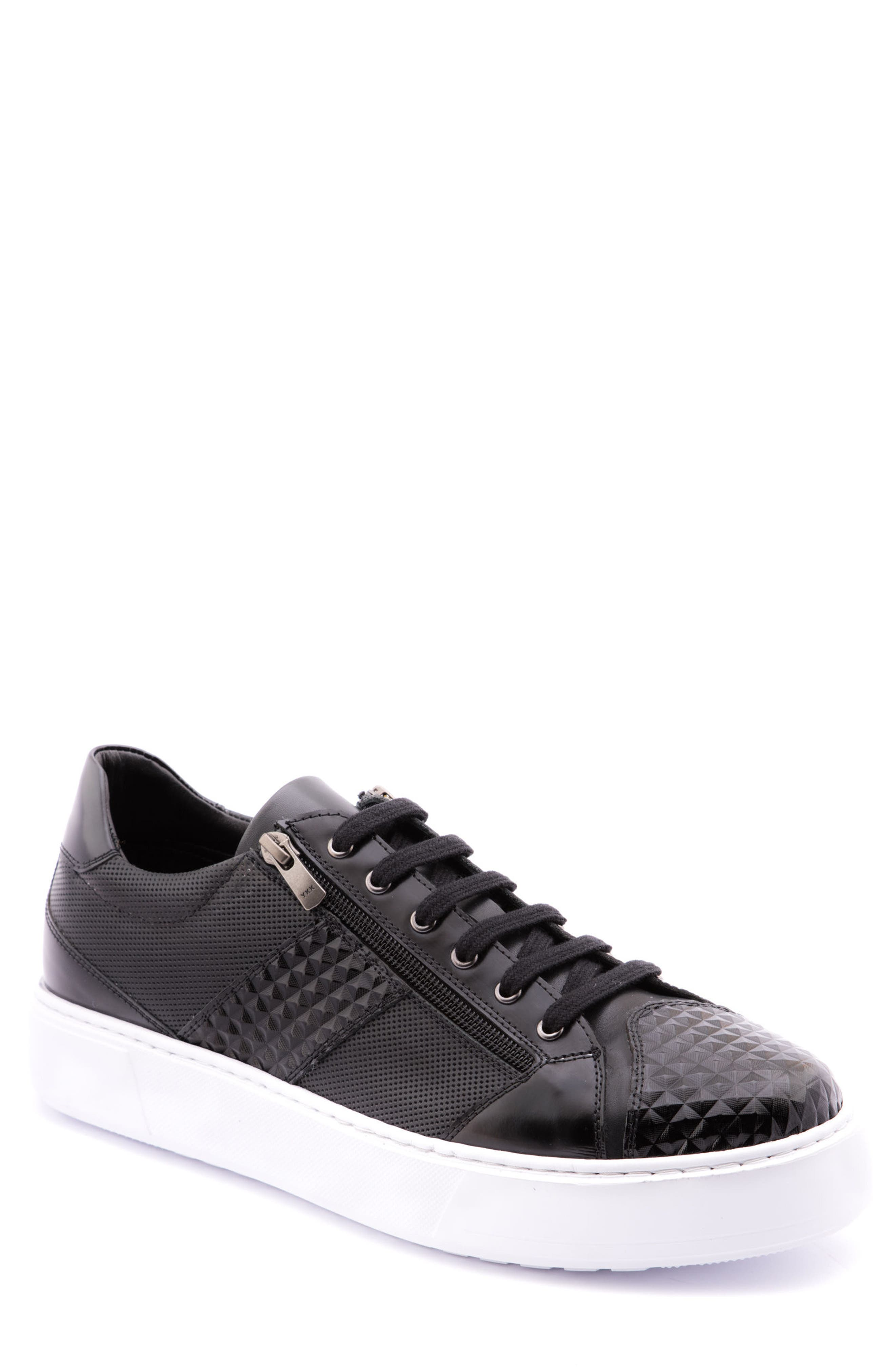 Justin Perforated Sneaker,                         Main,                         color, BLACK