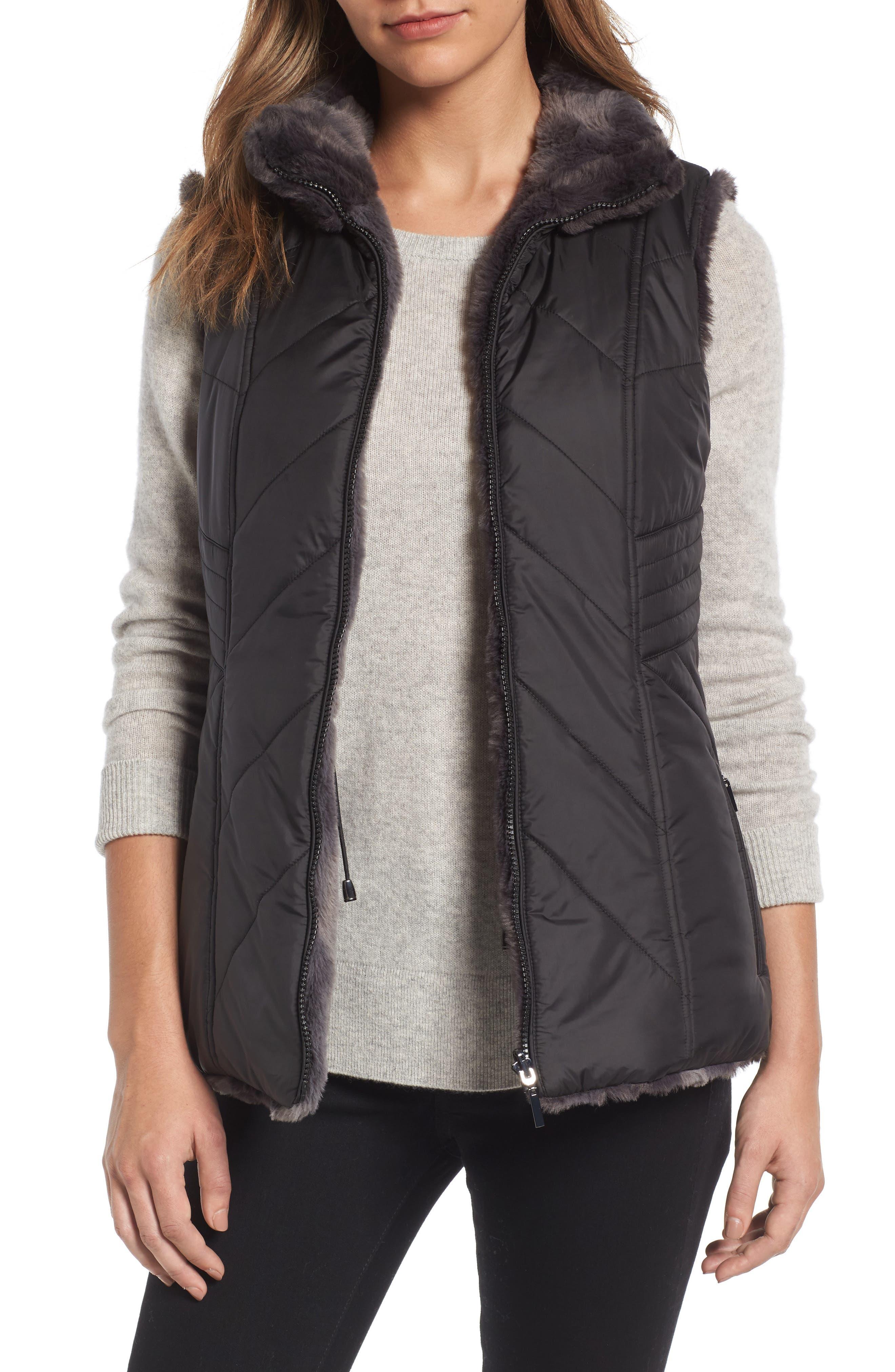 GALLERY Reversible Faux Fur Vest, Main, color, 001