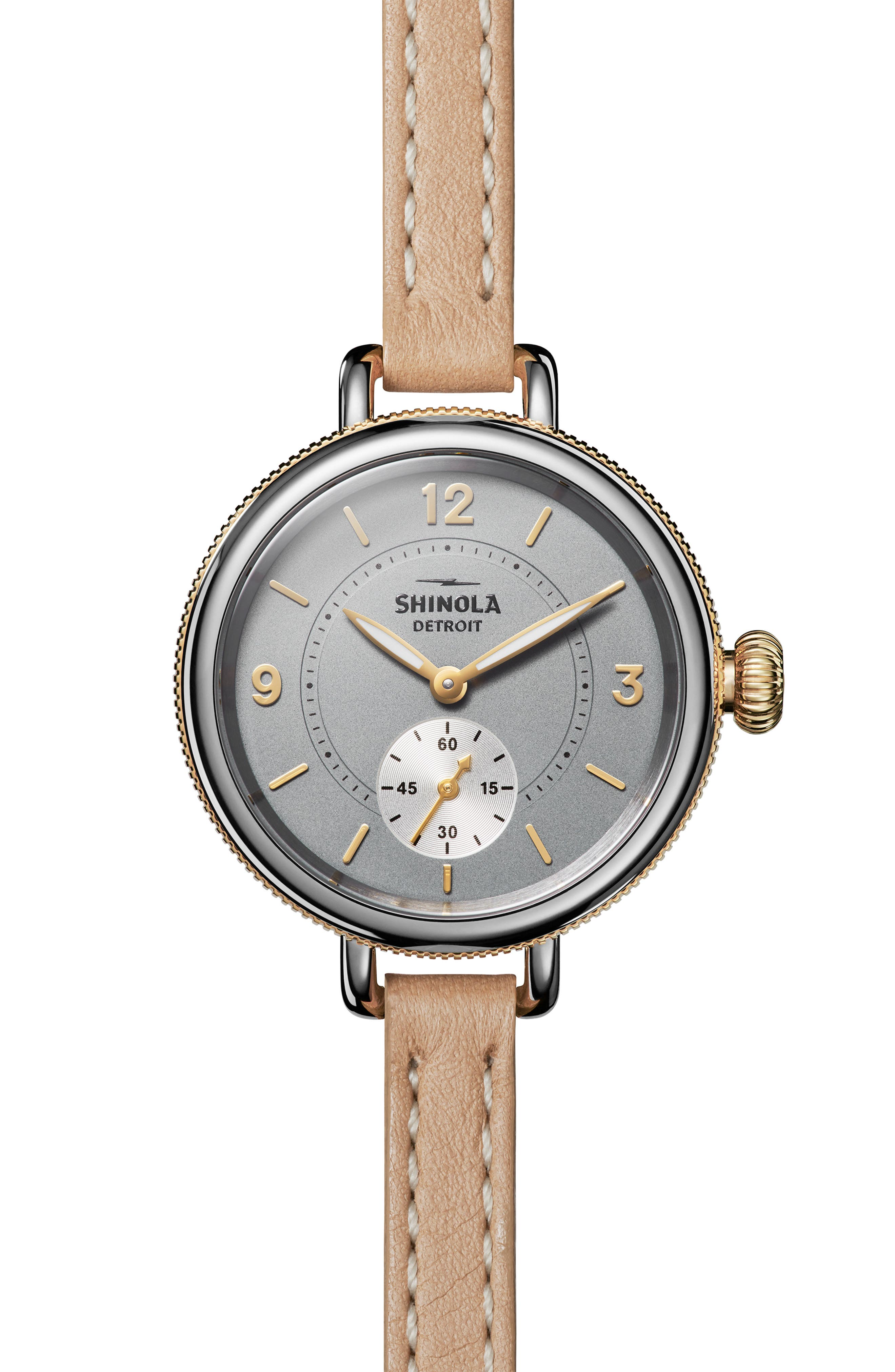 The Birdy Leather Strap Watch, 34mm,                         Main,                         color, TAN/ GREY/ GOLD
