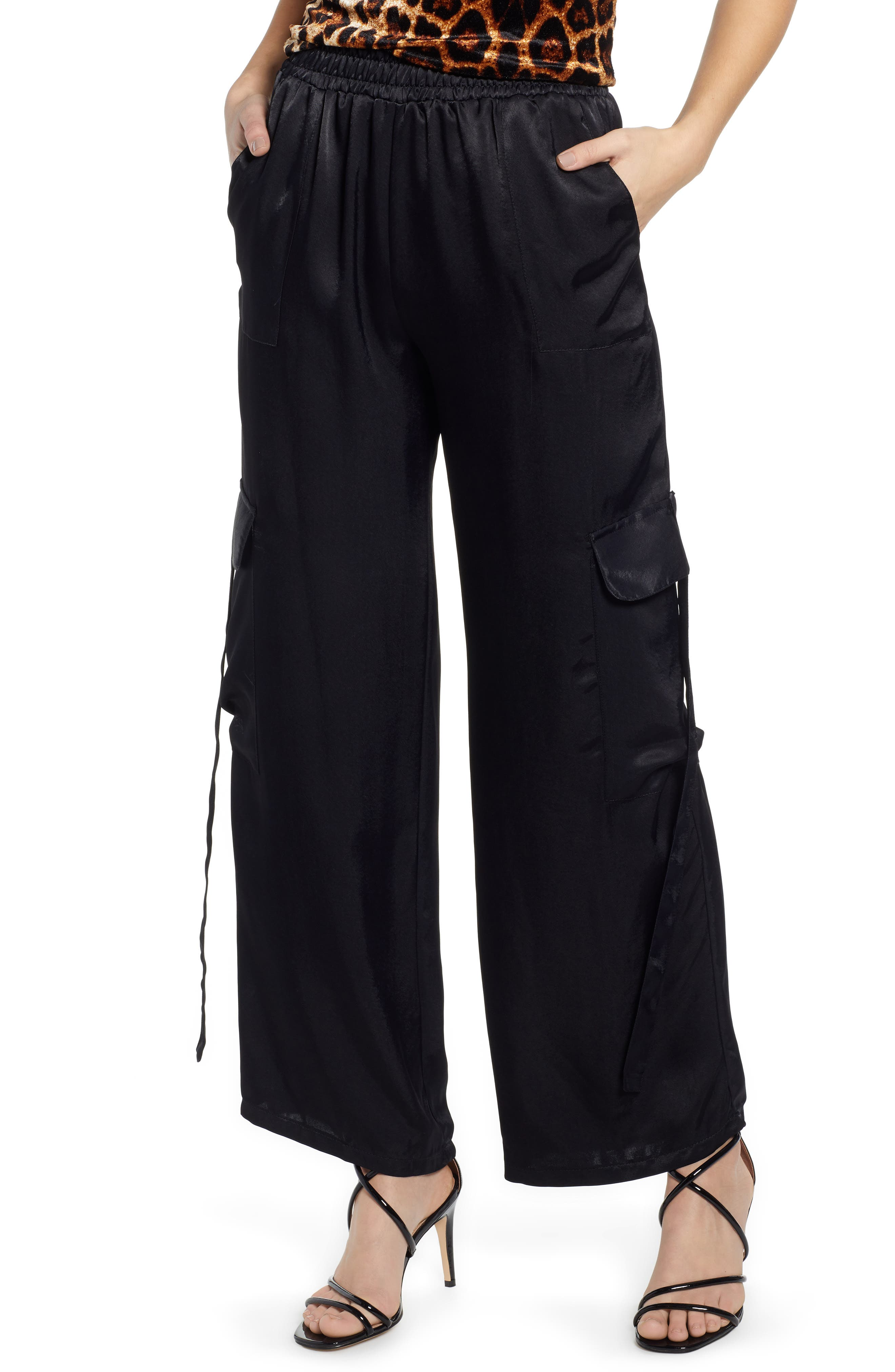 x We Own the Night Satin Combat Wide Leg Trousers, Main, color, BLACK