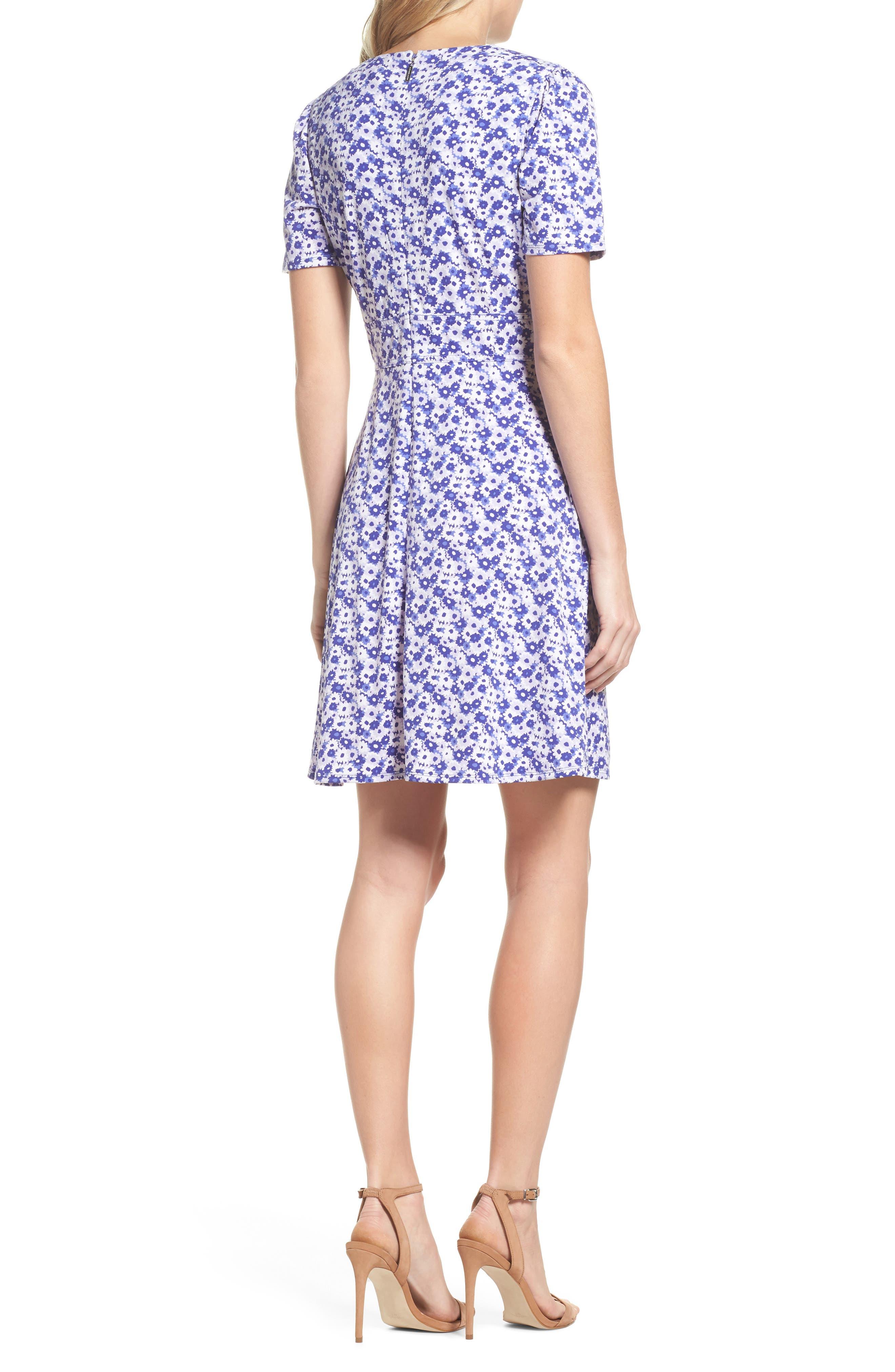 Floral Fit & Flare Dress,                             Alternate thumbnail 2, color,                             580